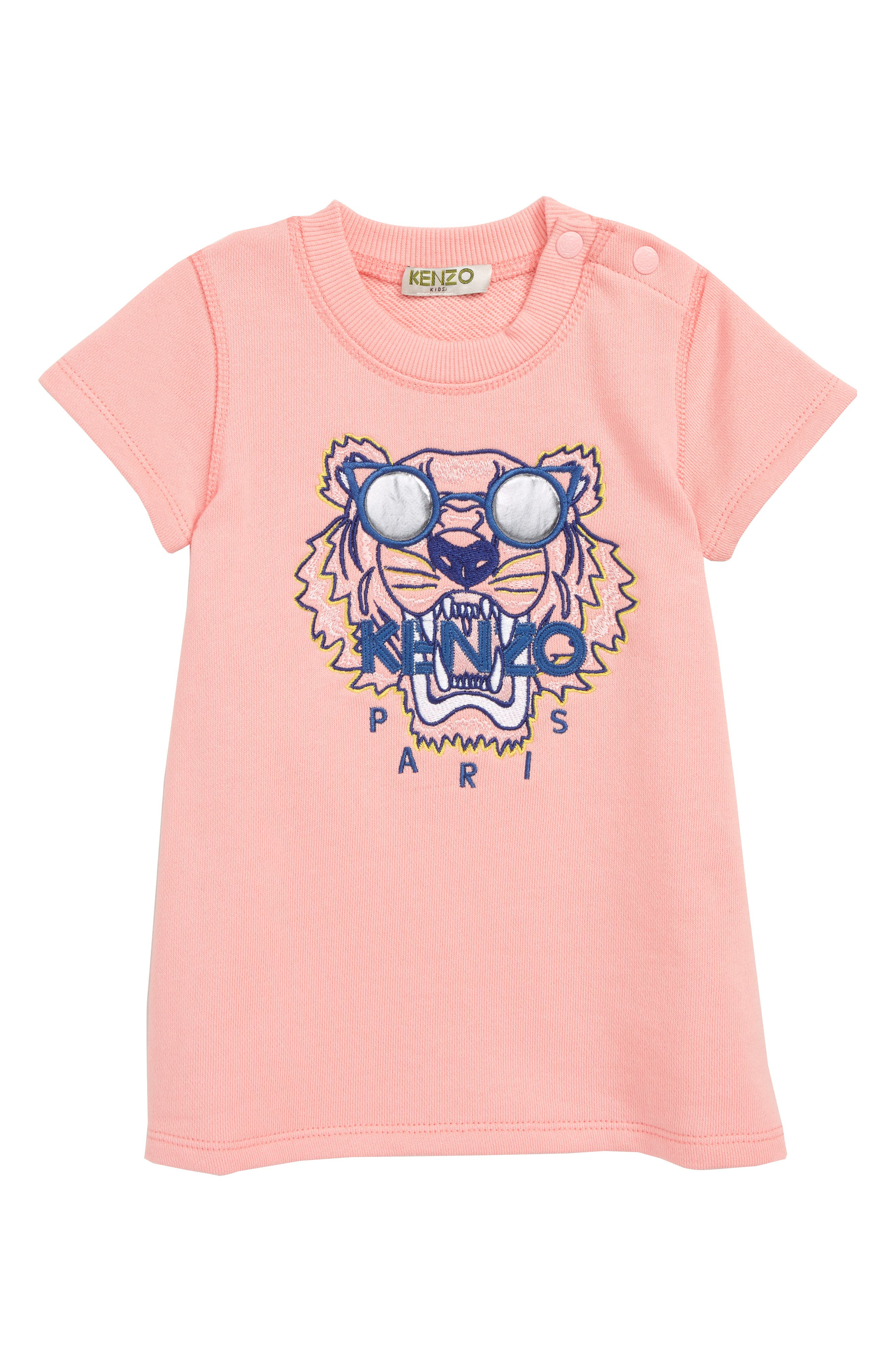 KENZO, Tiger Graphic Dress, Main thumbnail 1, color, MIDDLE PINK