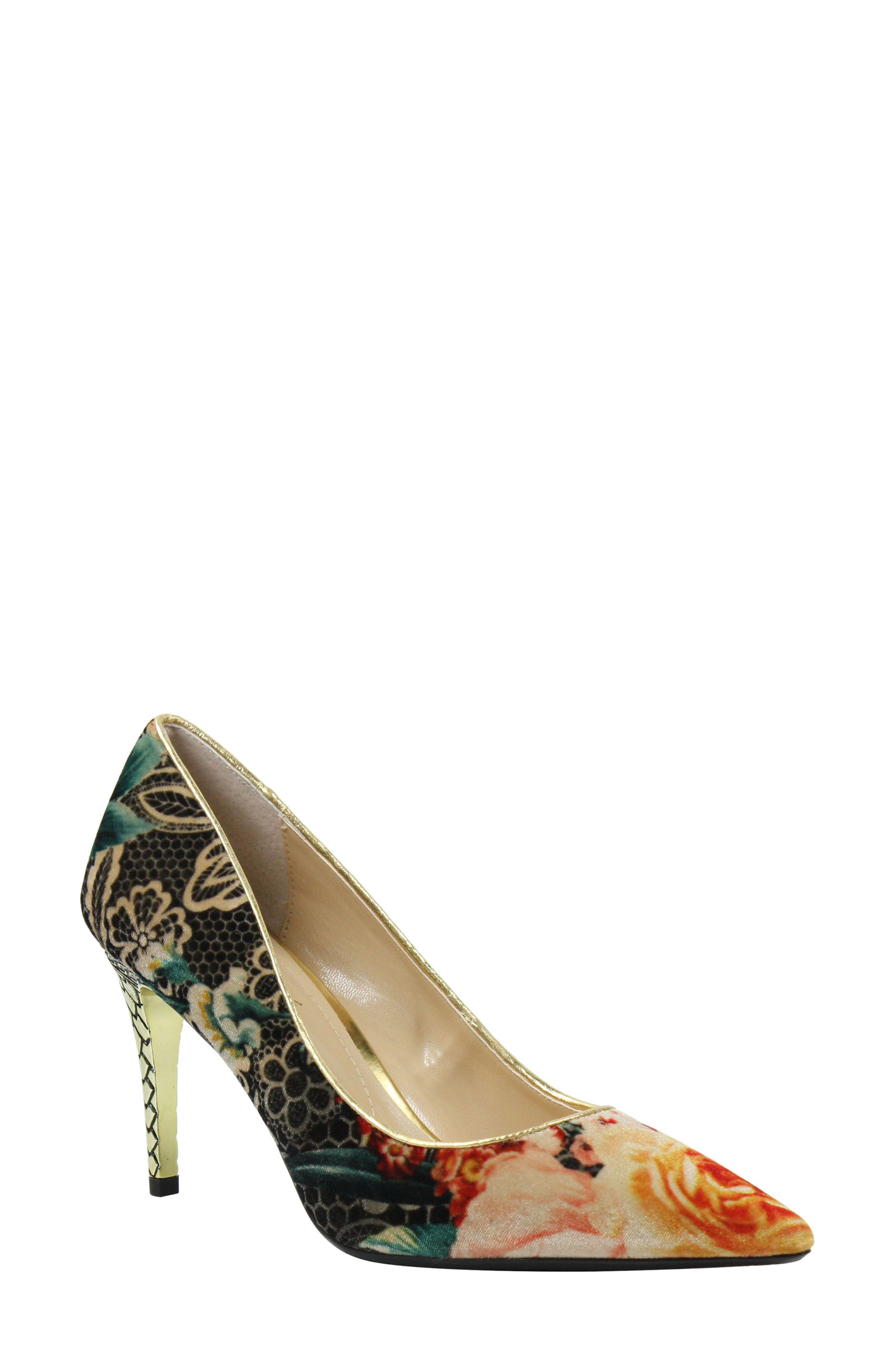 J. RENEÉ, 'Maressa' Pointy Toe Pump, Main thumbnail 1, color, BLACK/ TAUPE/ CORAL/ GOLD