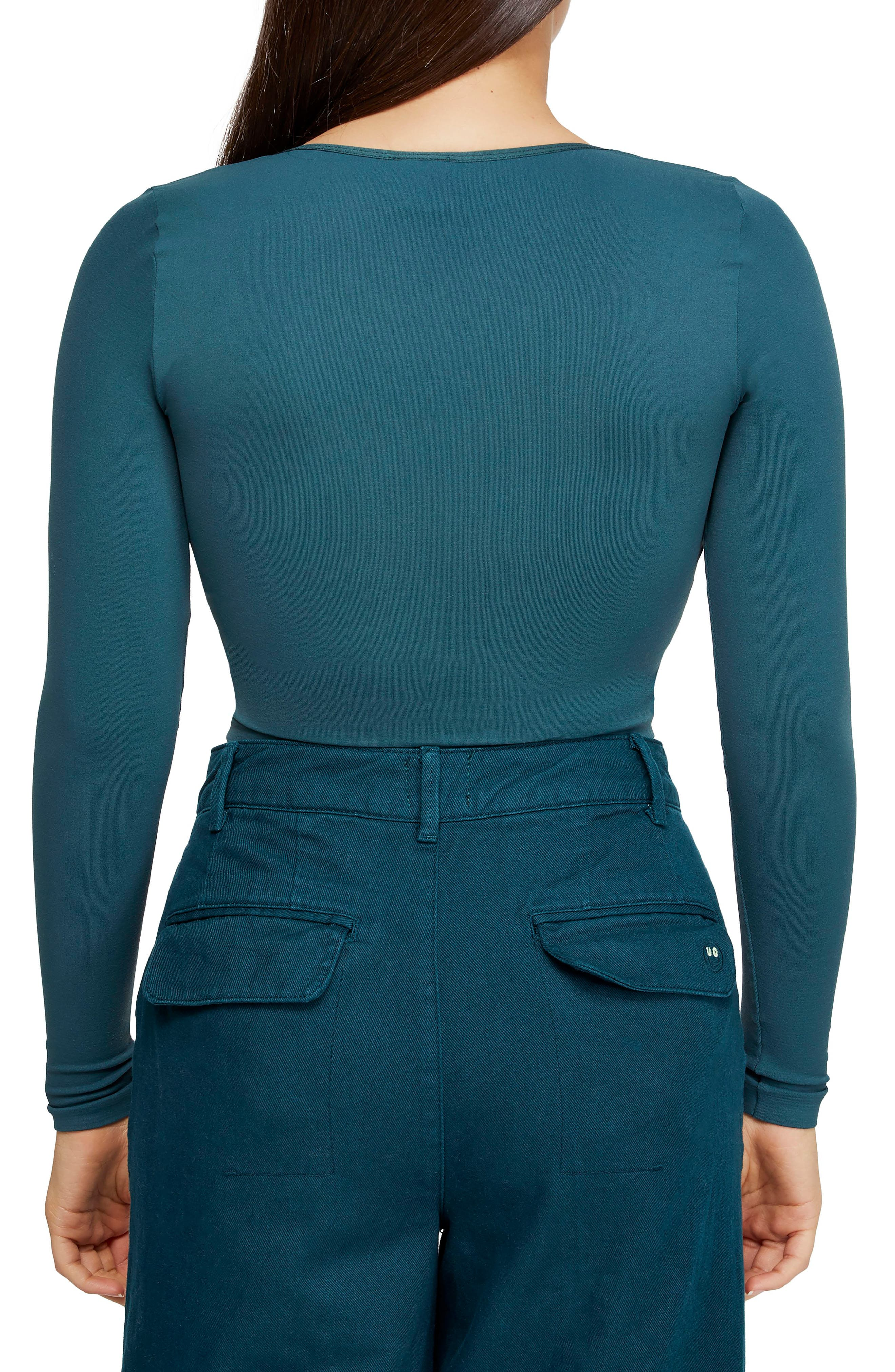 BDG, Urban Outfitters Plunging Crop Top, Alternate thumbnail 2, color, DARK GREEN