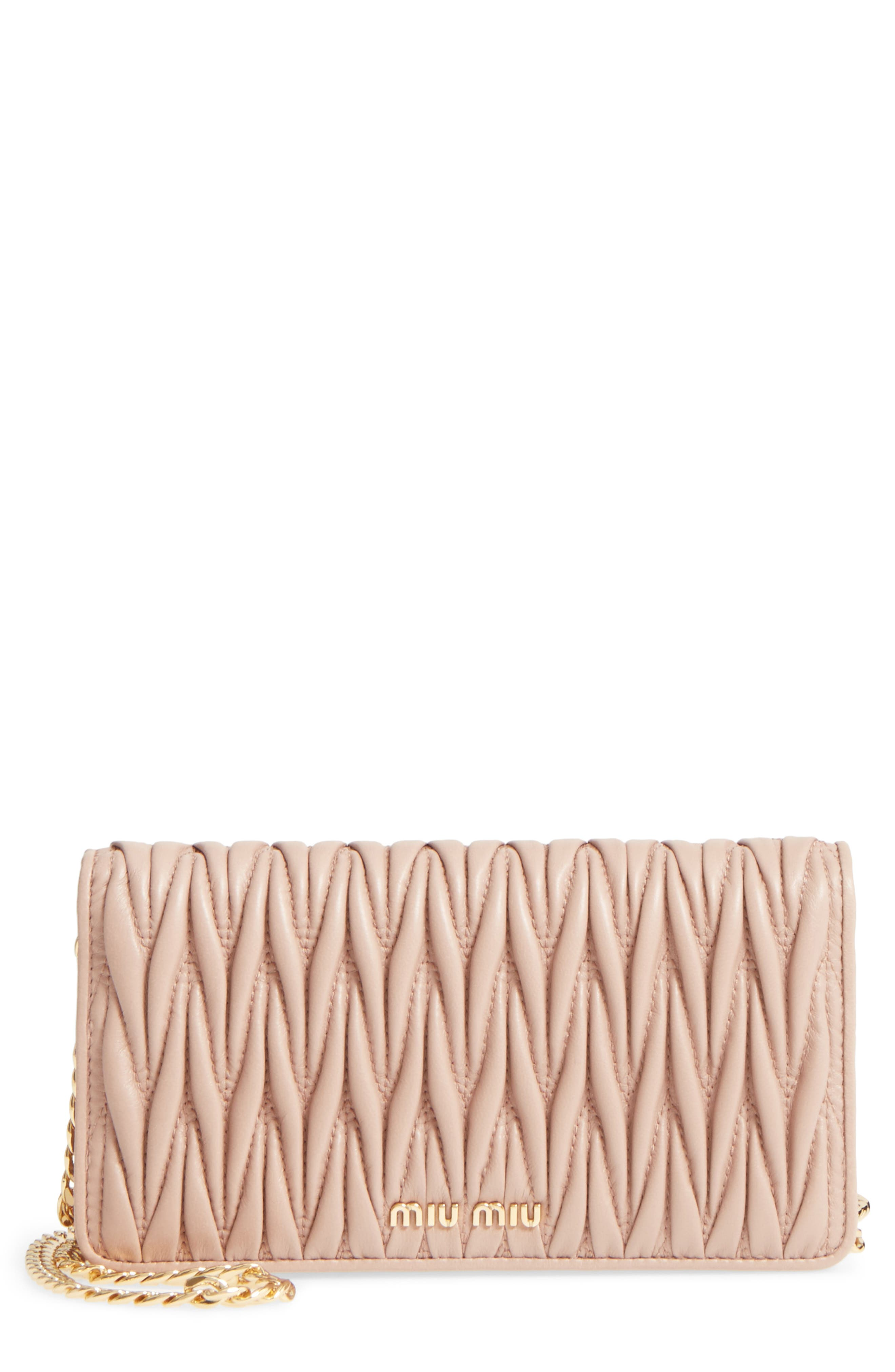 MIU MIU Matelassé Leather Wallet on a Chain, Main, color, CAMMEO