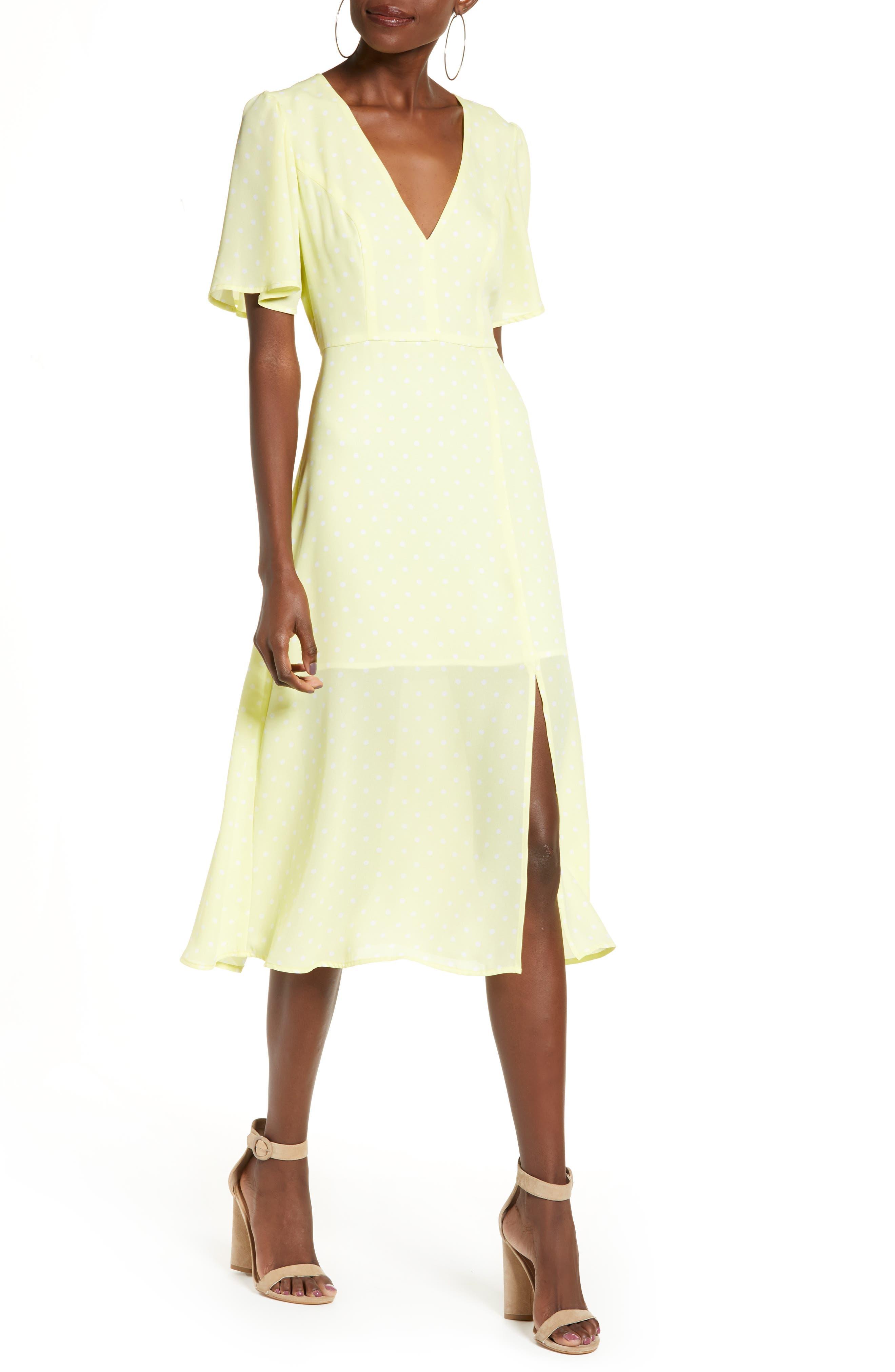 LEITH, Flutter Sleeve Midi Dress, Main thumbnail 1, color, YELLOW MERINGUE DOT