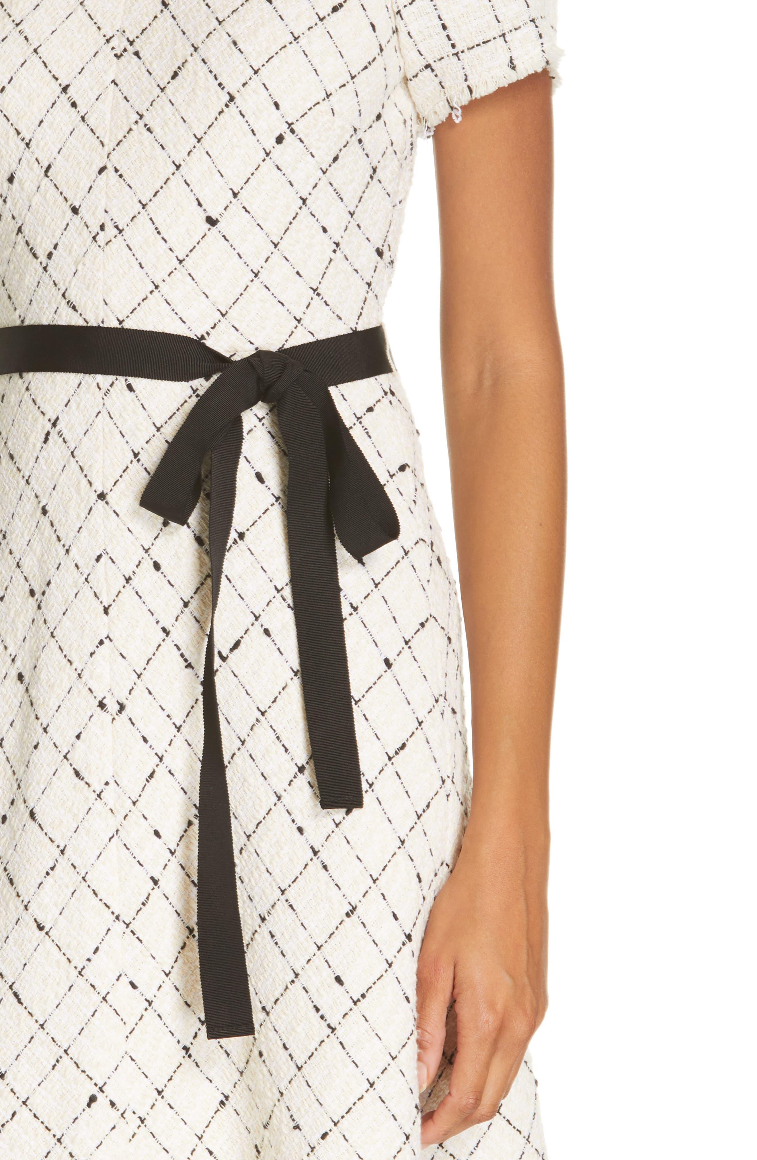 REBECCA TAYLOR, Plaid Tweed Dress, Alternate thumbnail 5, color, CREAM COMBO