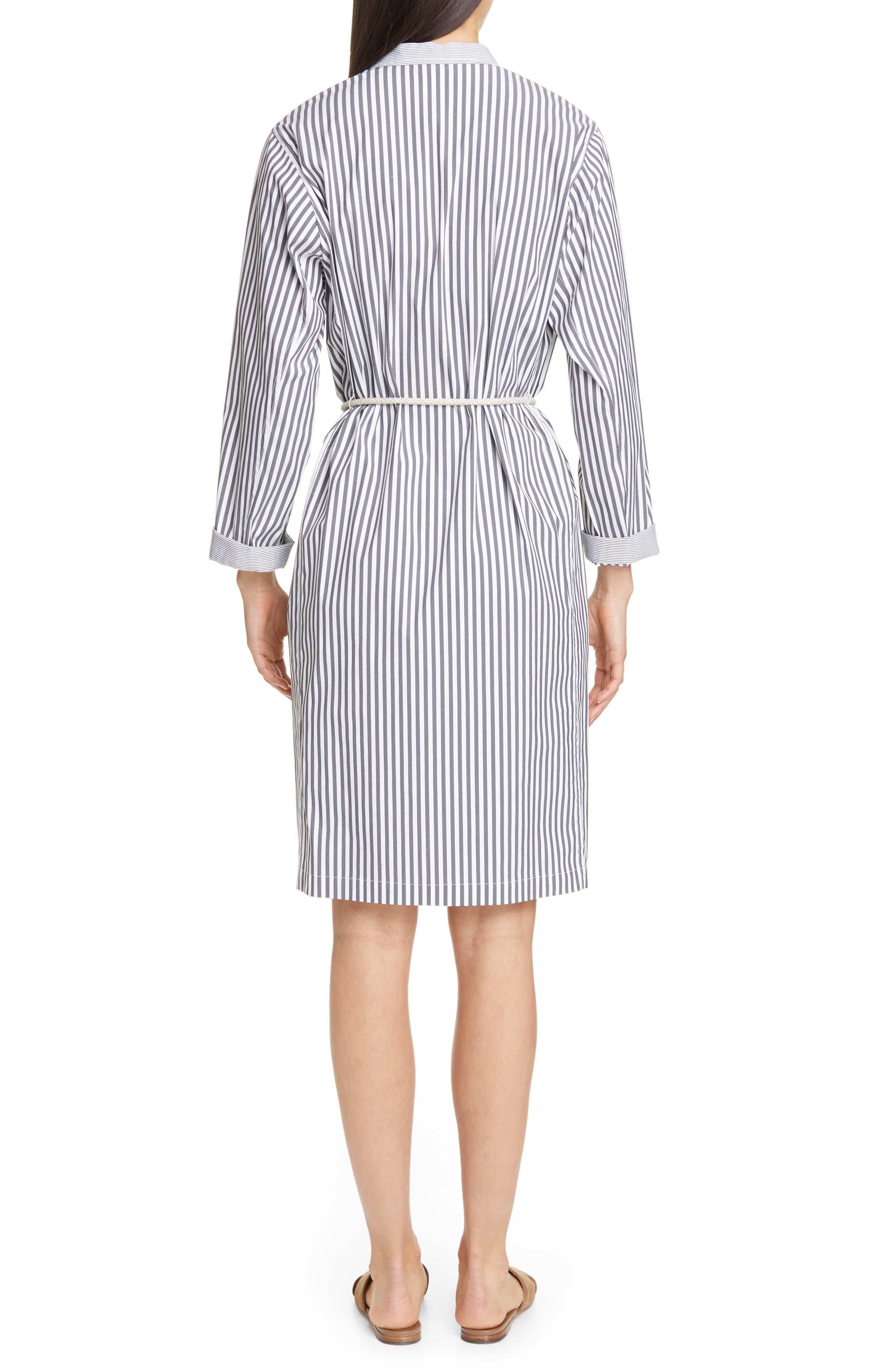 LAFAYETTE 148 NEW YORK, Rexana Stripe Long Sleeve Belted Shirtdress, Alternate thumbnail 2, color, ASH MULTI