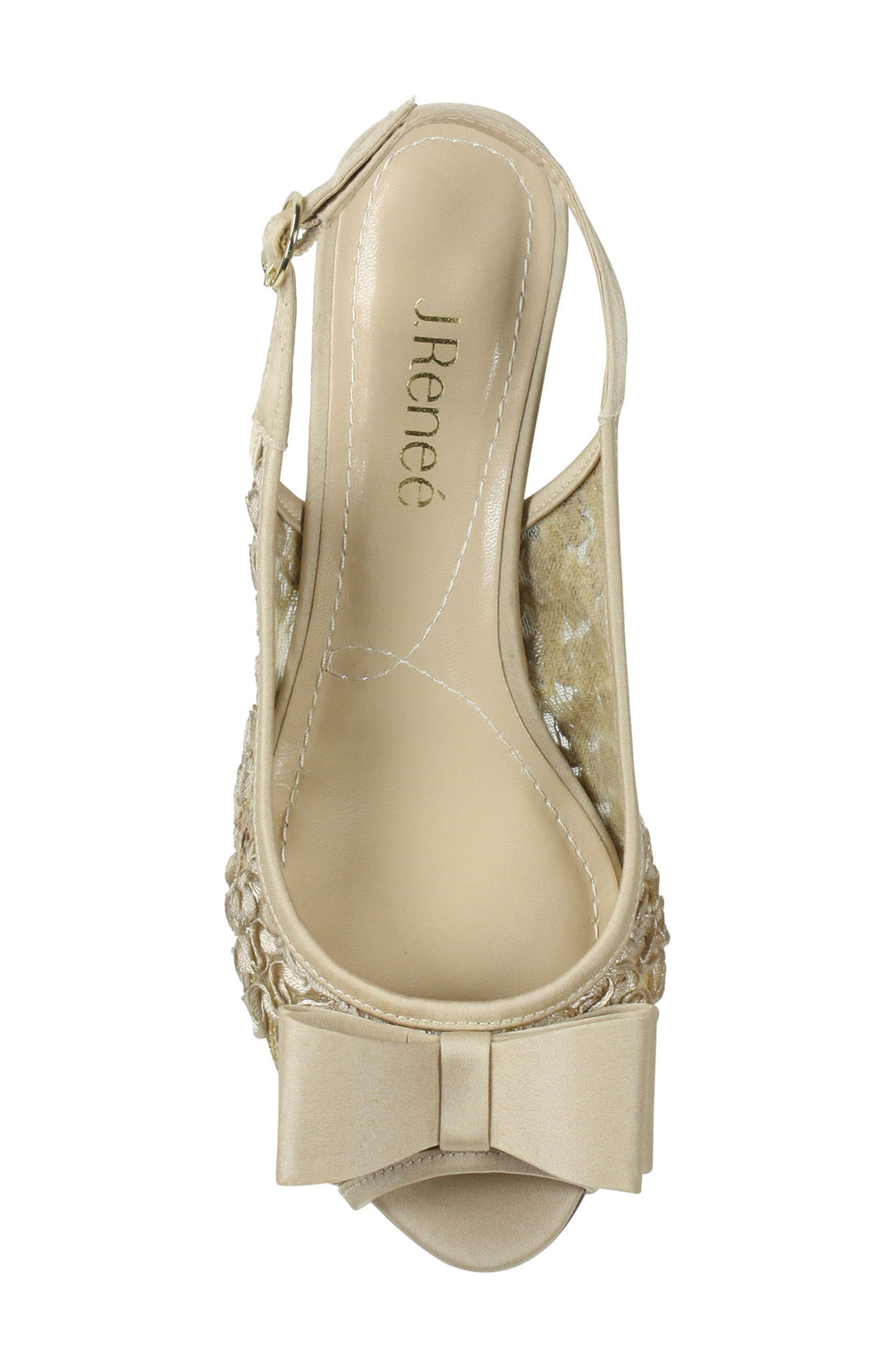J. RENEÉ, Landan Bow Slingback Sandal, Alternate thumbnail 3, color, CHAMPAGNE