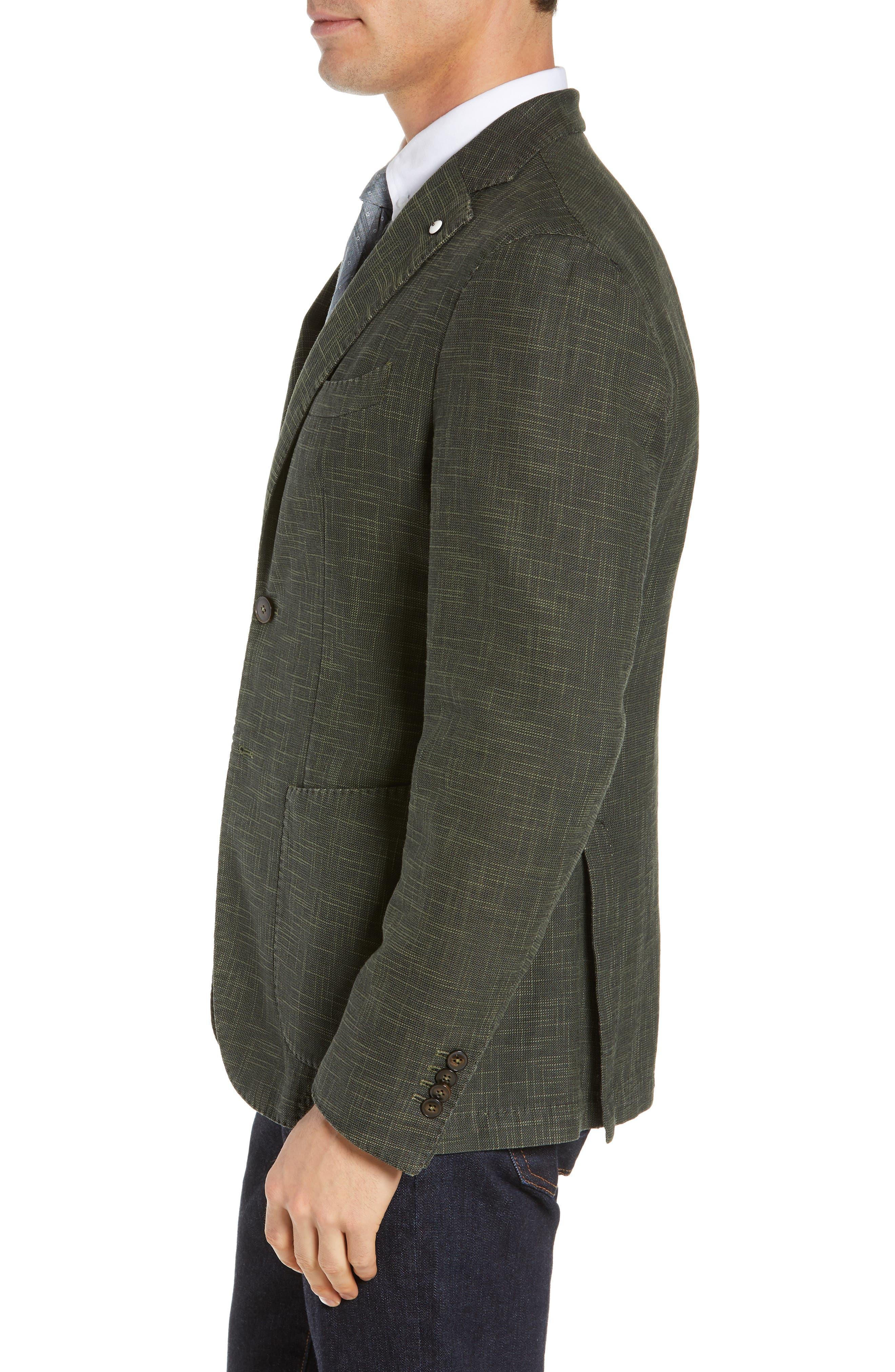 L.B.M. 1911, Trim Fit Cotton Blend Sport Coat, Alternate thumbnail 4, color, DARK GREEN
