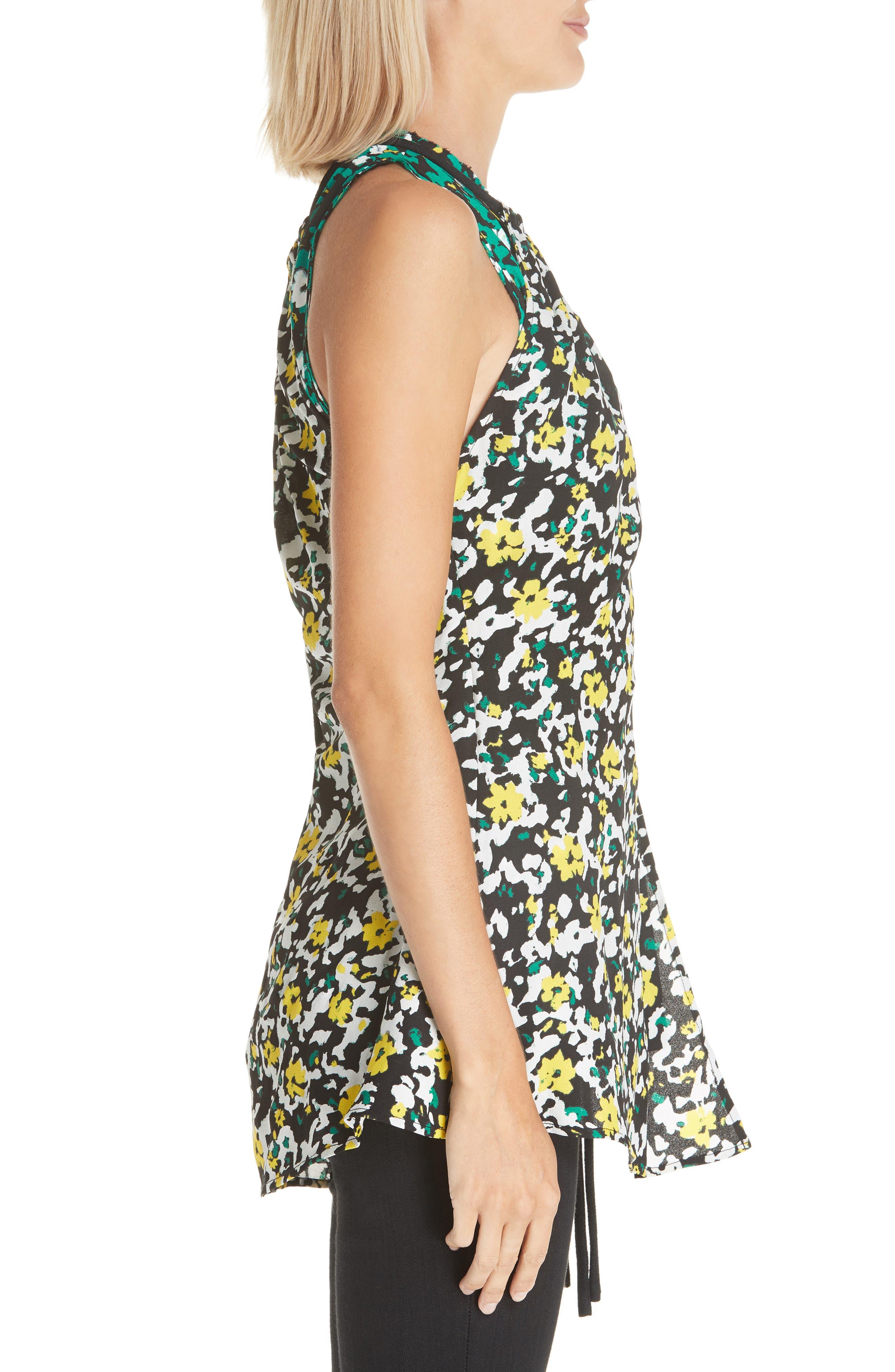 PROENZA SCHOULER, Side Tie Floral Print Blouse, Alternate thumbnail 3, color, WHITE WILDFLOWER