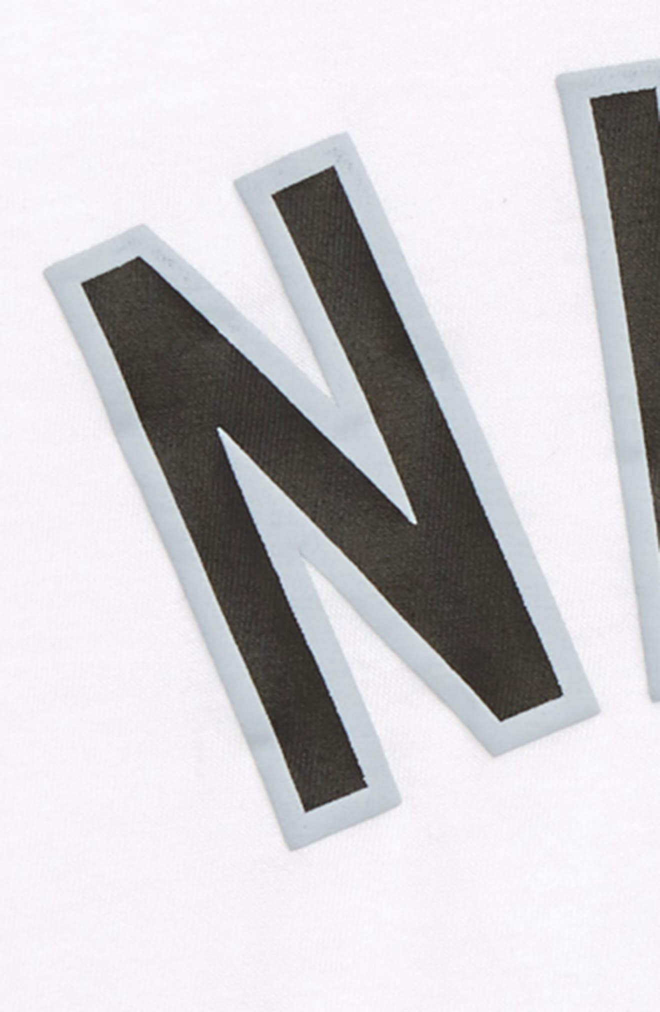 NIKE, Air Stripe T-Shirt, Alternate thumbnail 2, color, WHITE