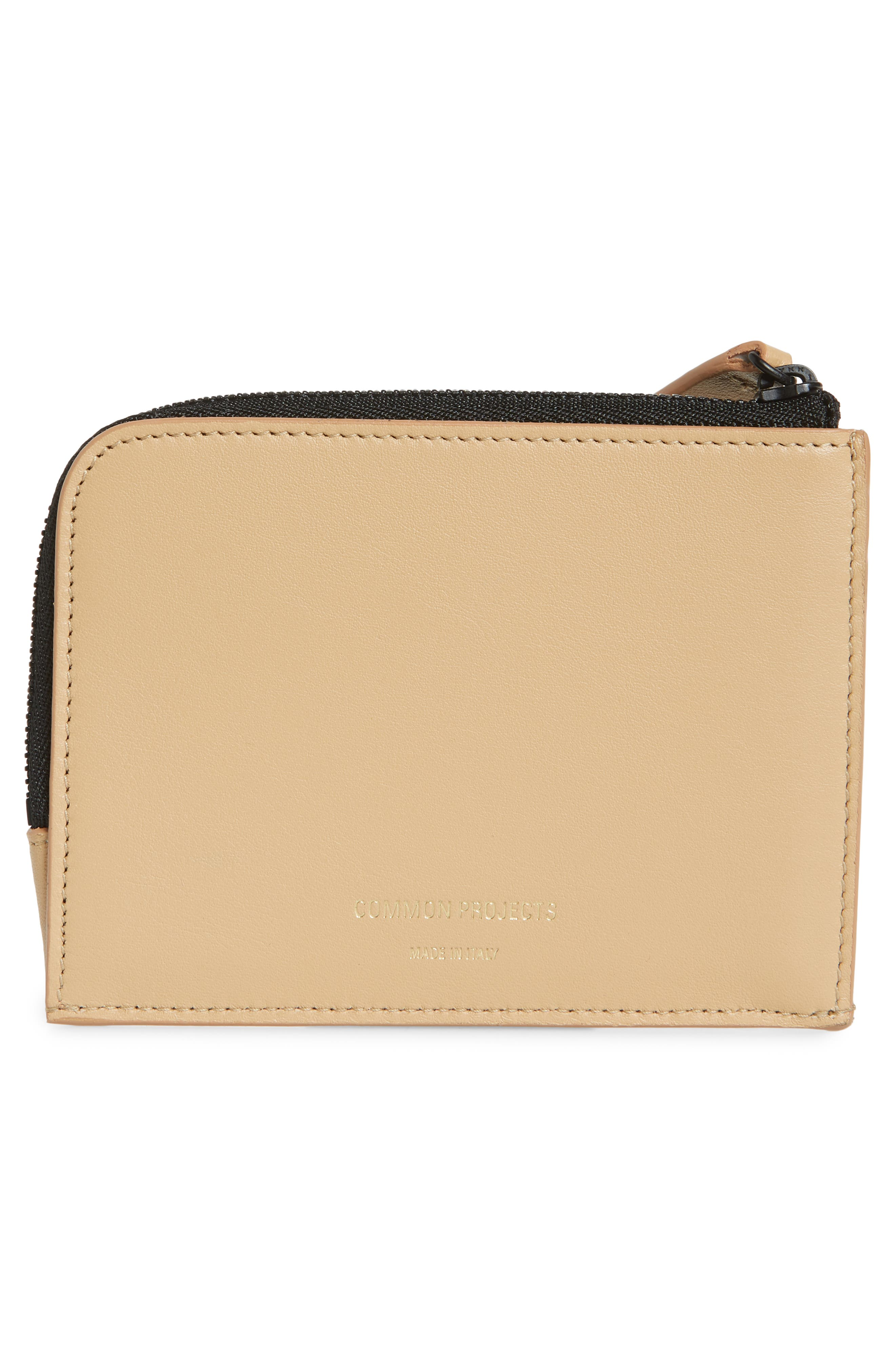 COMMON PROJECTS, Nappa Leather Zip Wallet, Alternate thumbnail 3, color, TAN