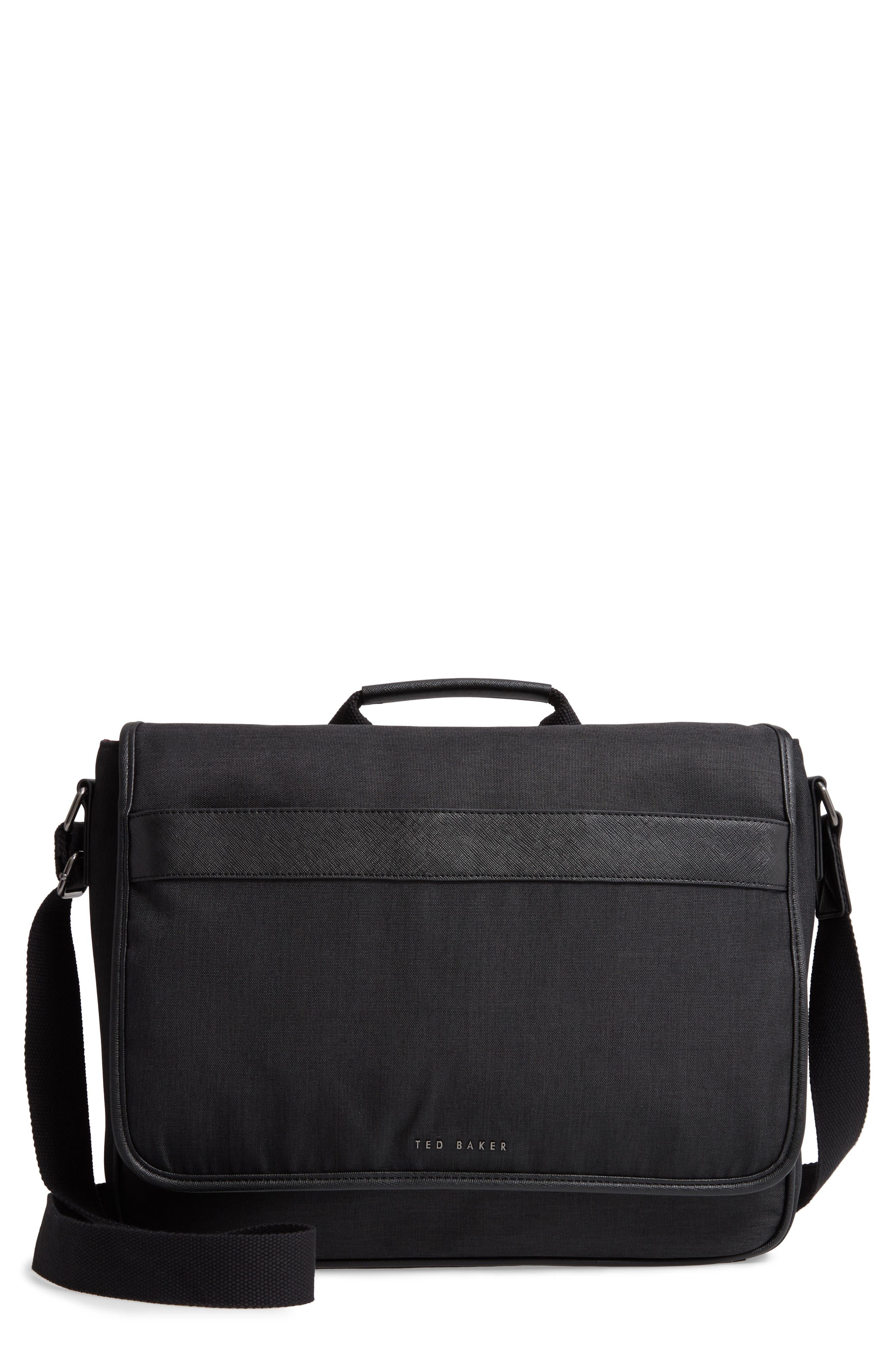 TED BAKER LONDON Edds Messenger Bag, Main, color, BLACK