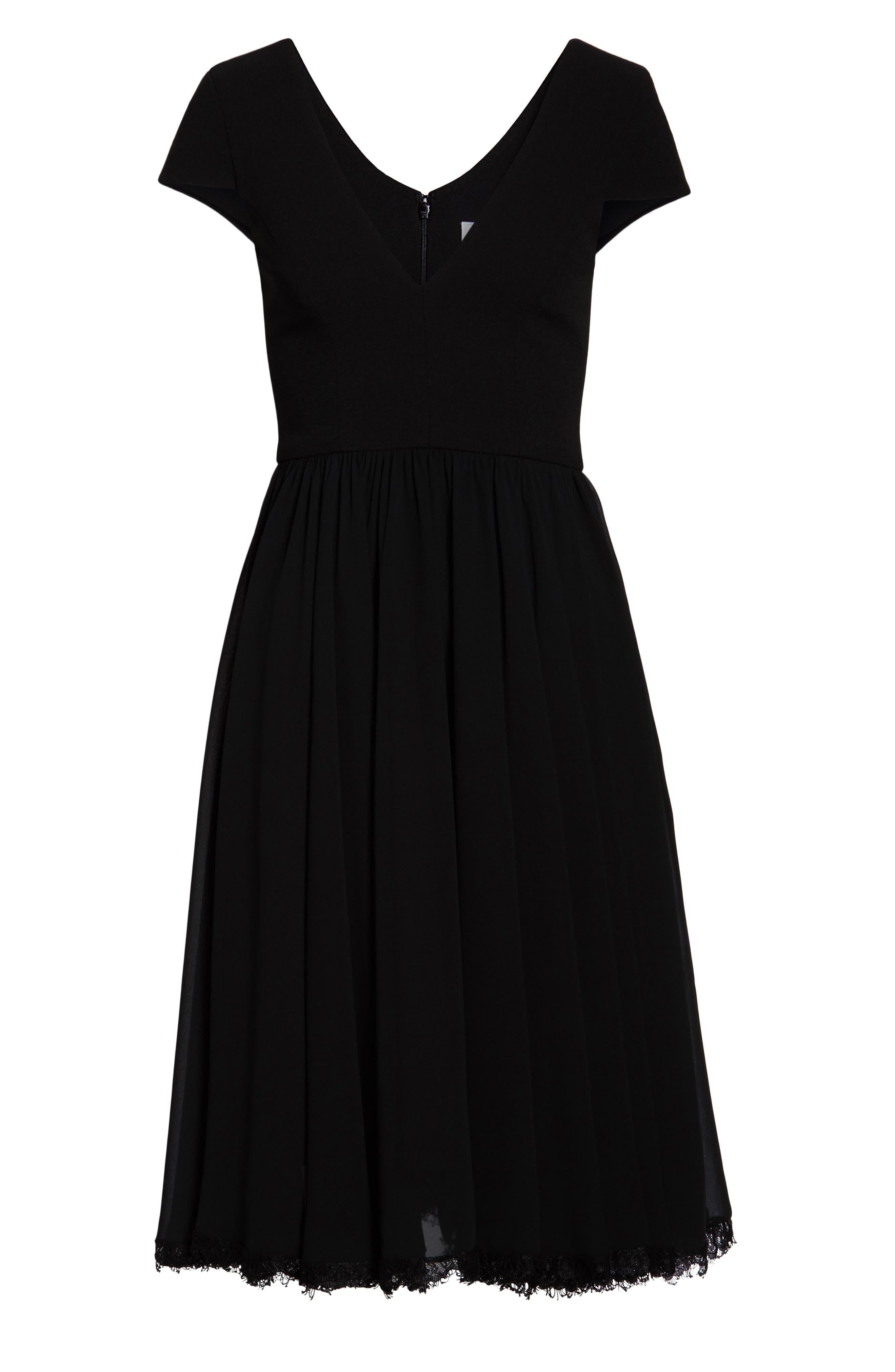 DRESS THE POPULATION, Corey Chiffon Fit & Flare Dress, Alternate thumbnail 8, color, BLACK