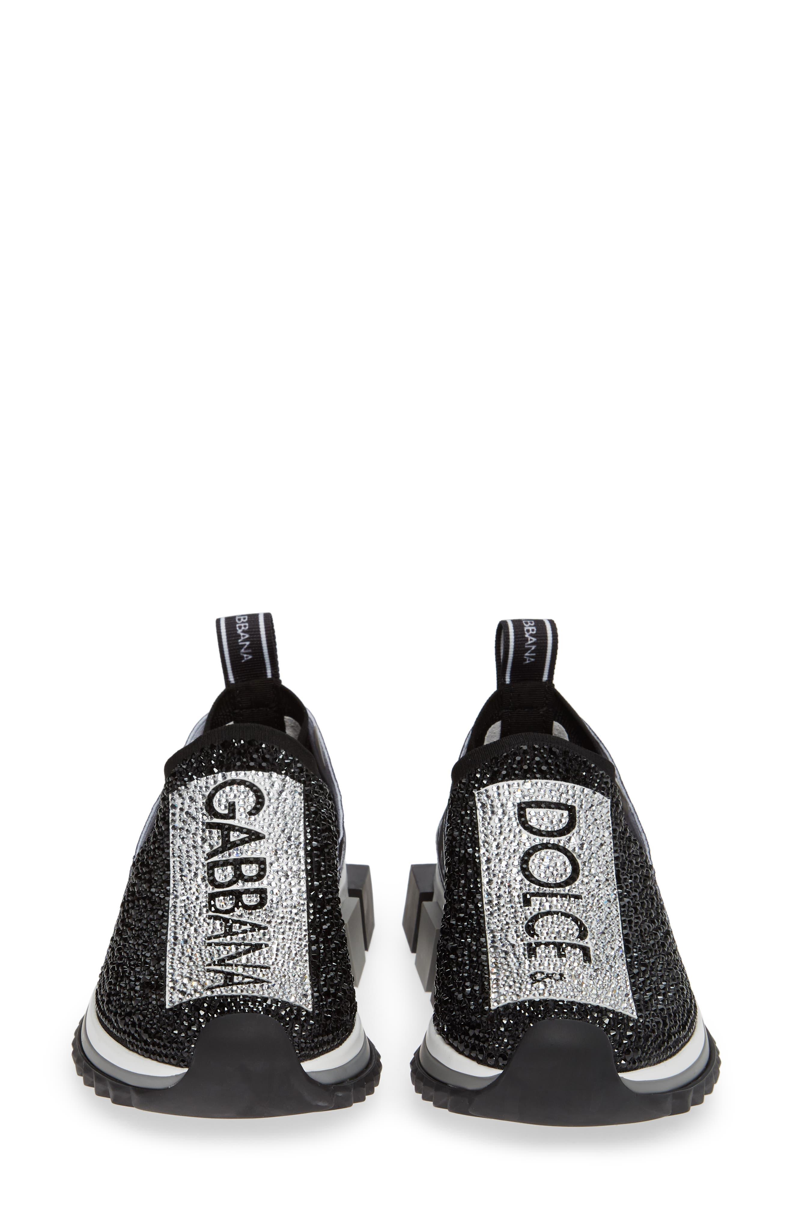 DOLCE&GABBANA, Sorrento Jeweled Logo Sneaker, Alternate thumbnail 5, color, 040