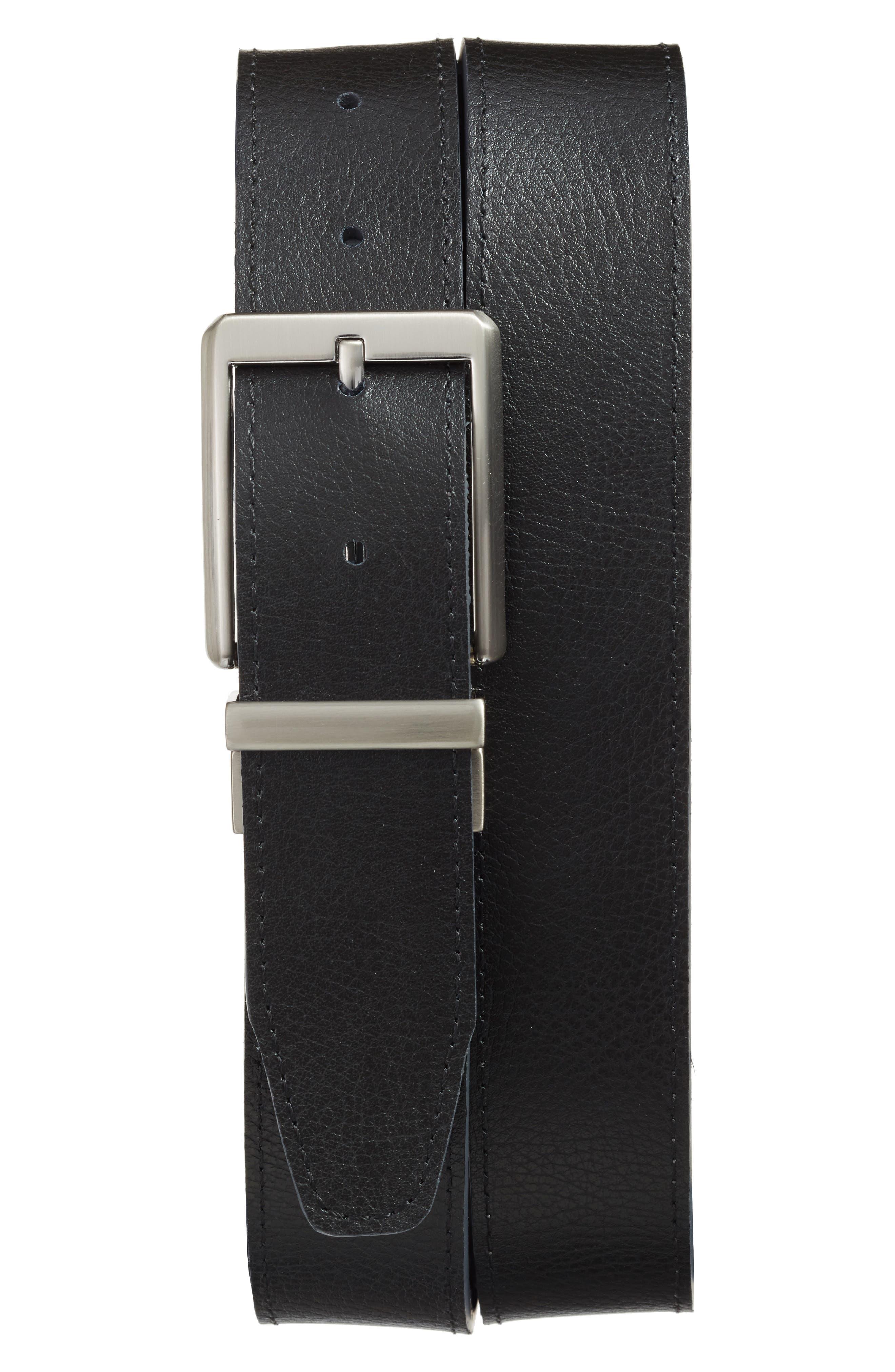 NIKE, Core Reversible Leather Belt, Alternate thumbnail 2, color, DARK GREY