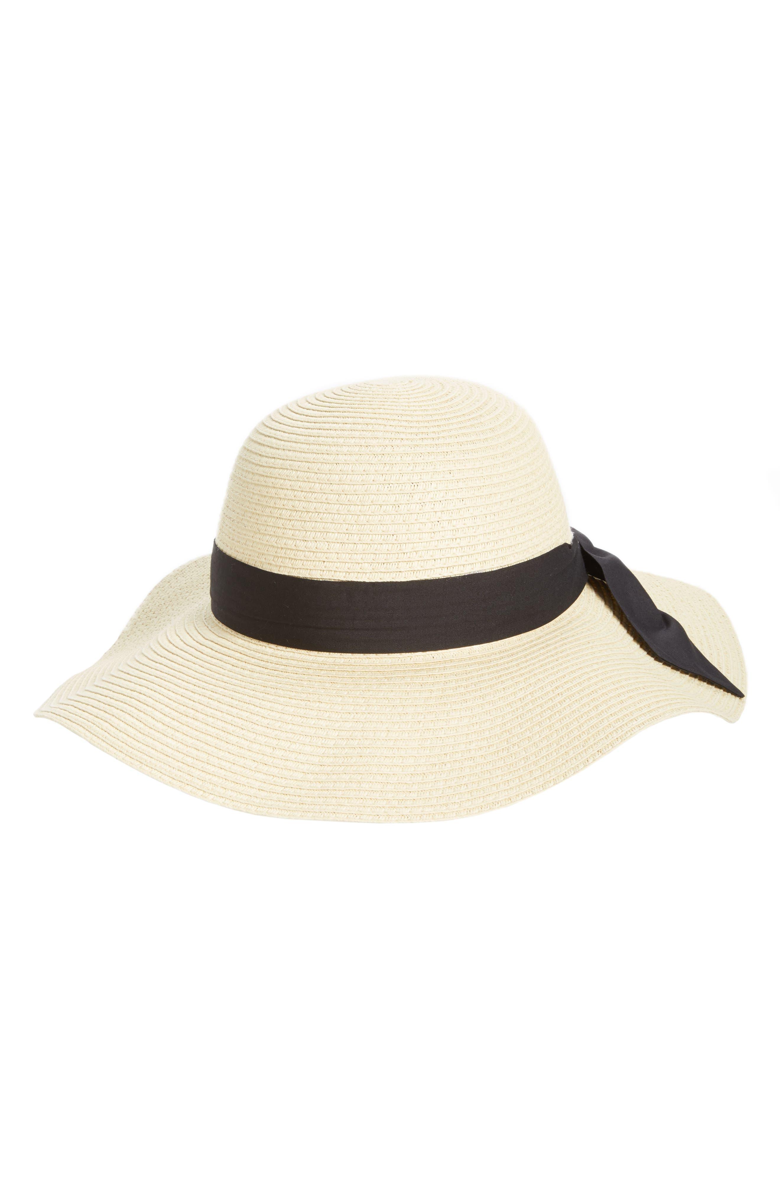 BP., Bow Band Floppy Straw Hat, Main thumbnail 1, color, NATURAL/ BLACK