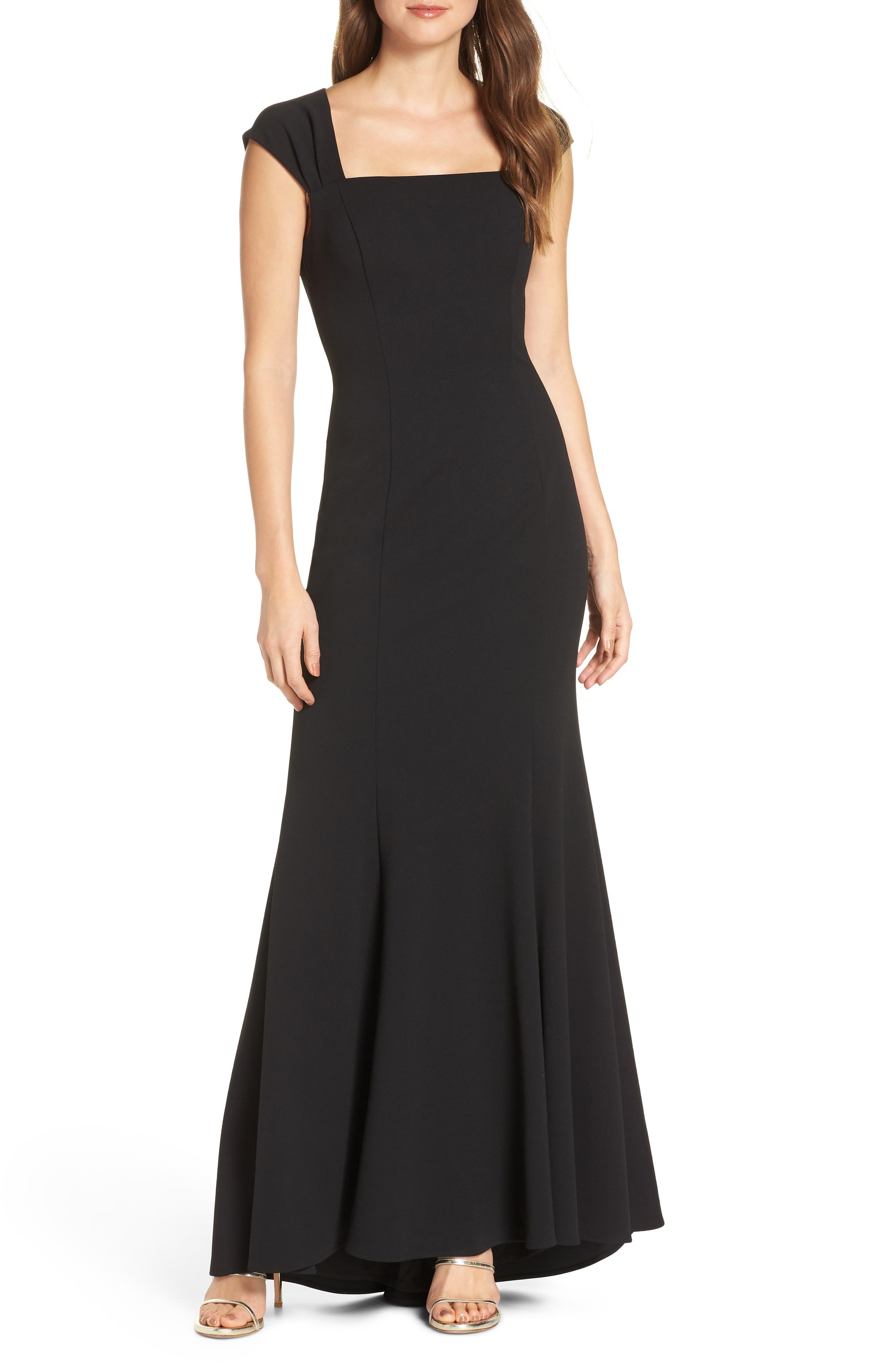 ELIZA J, Square Neck Scuba Crepe Evening Dress, Main thumbnail 1, color, BLACK
