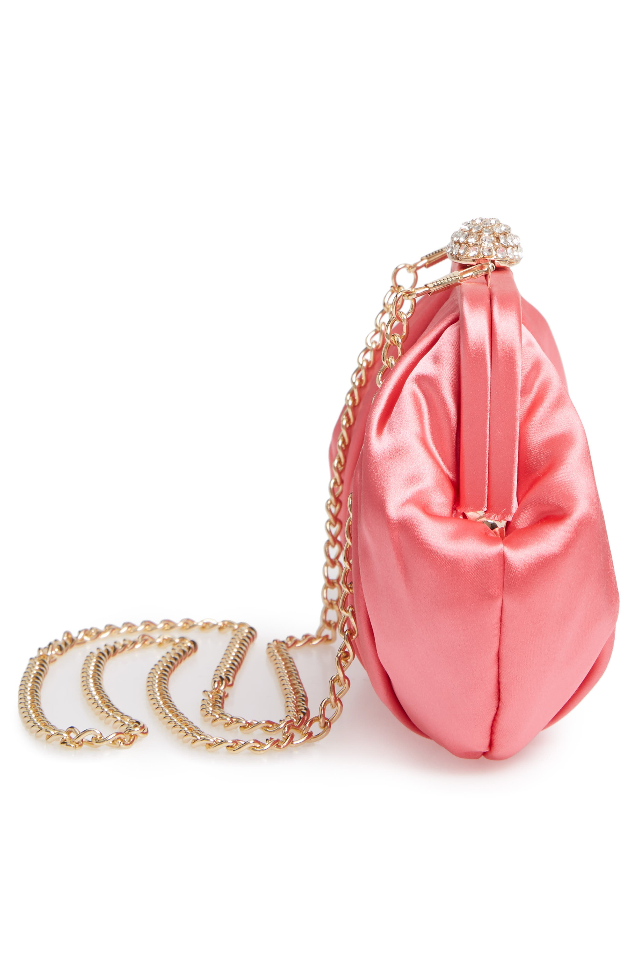 NINA, Concord Pleated Satin Frame Clutch, Alternate thumbnail 5, color, STRAWBERRY PUNCH