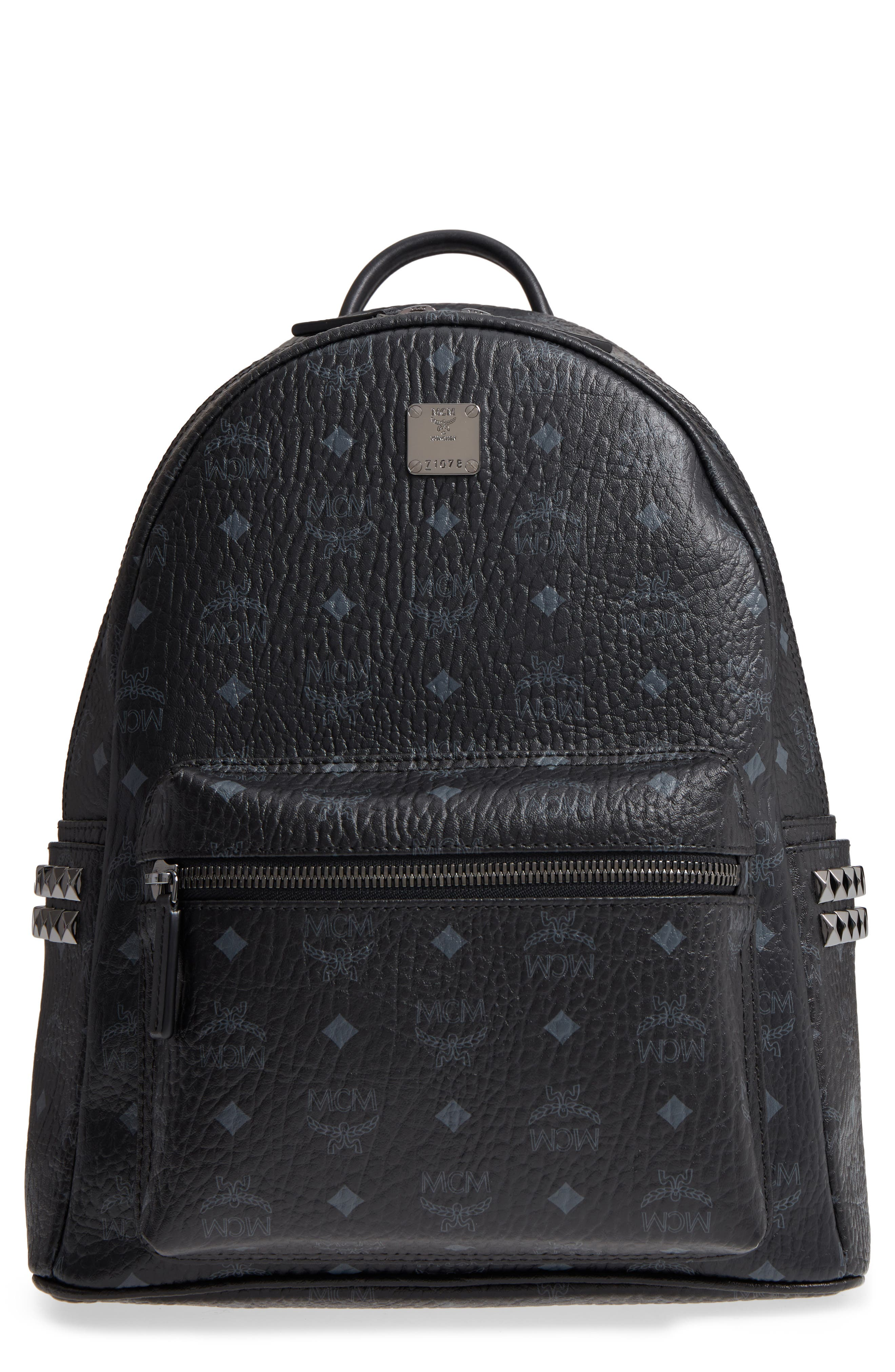 MCM, Medium Stark Side Stud Coated Canvas Backpack, Main thumbnail 1, color, BLACK