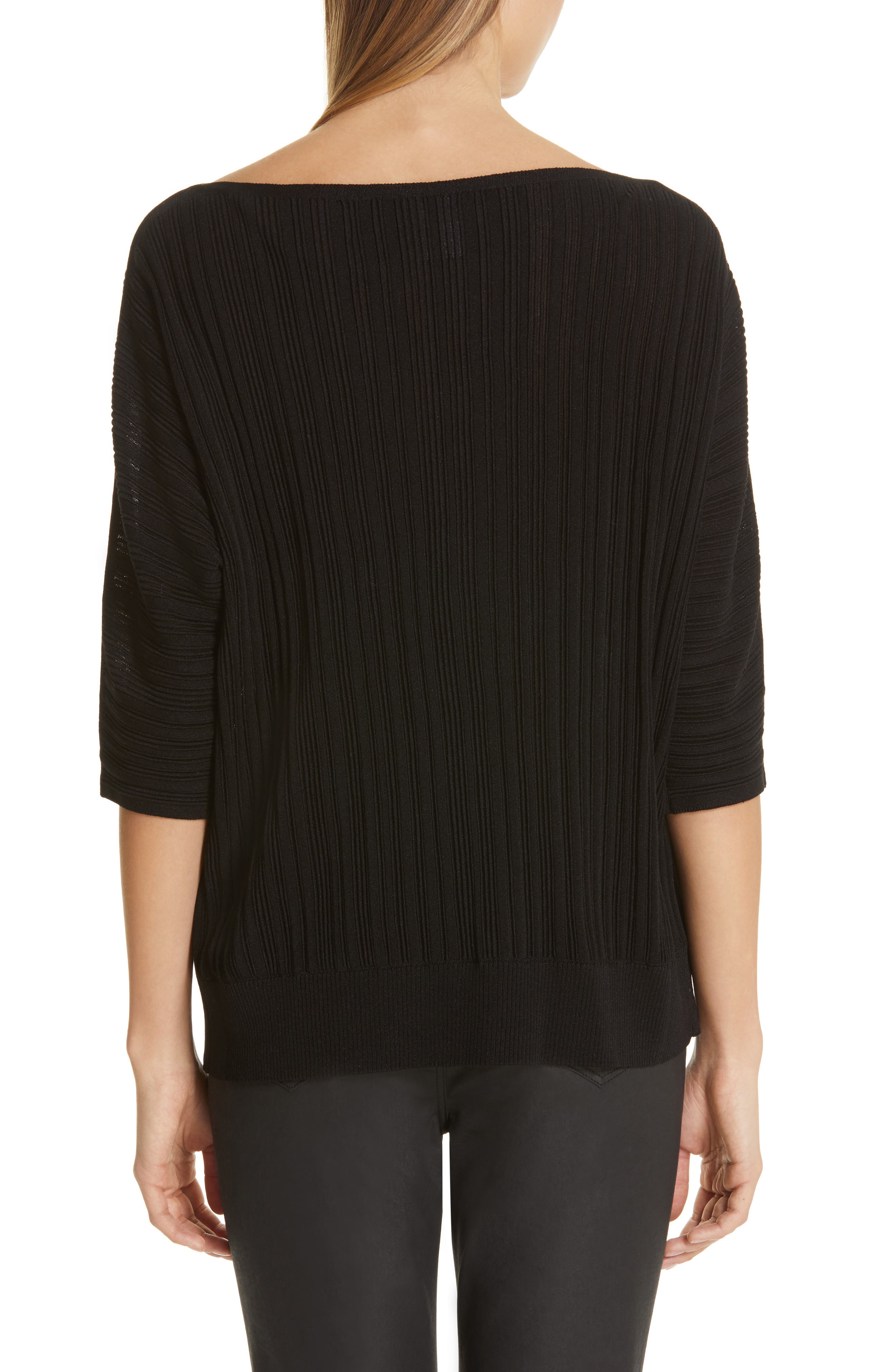LAFAYETTE 148 NEW YORK, Plissé Ribbed Dolman Sweater, Alternate thumbnail 2, color, BLACK