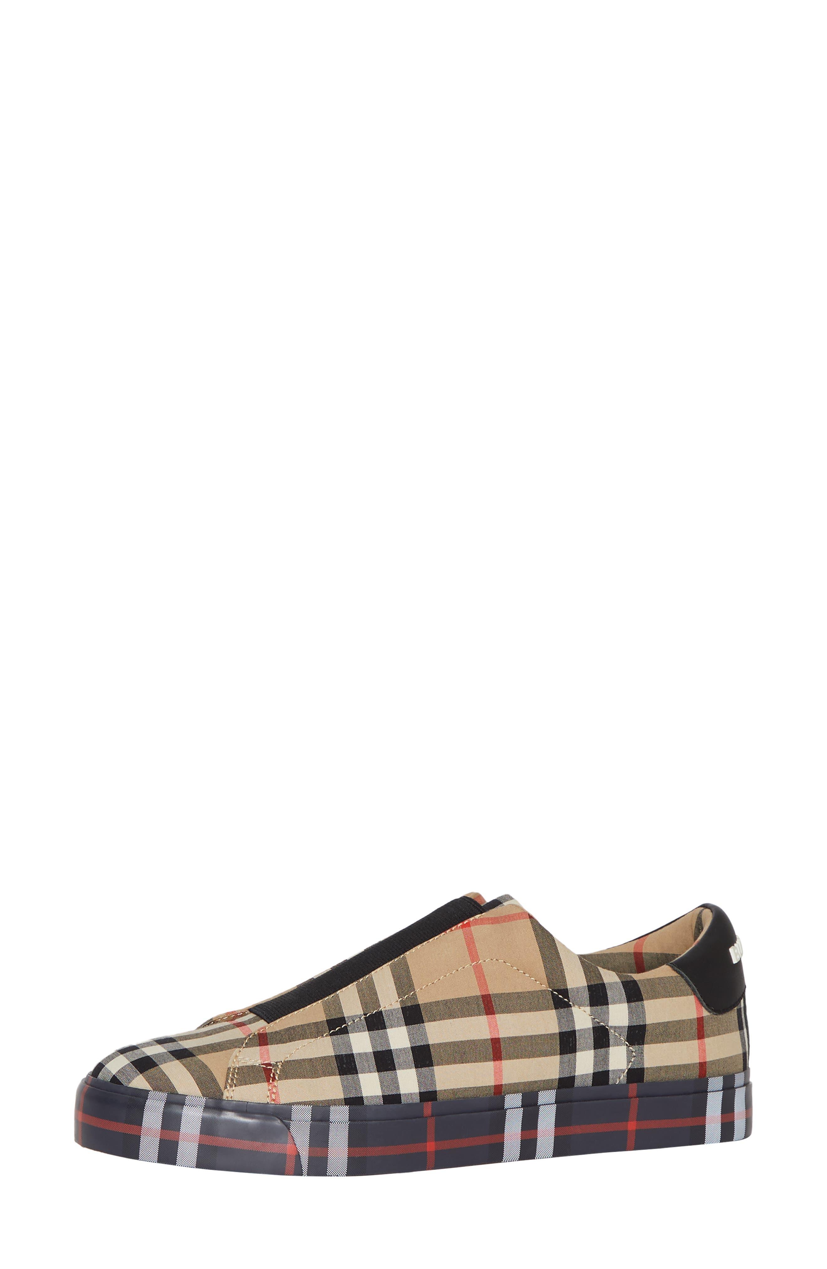 BURBERRY, Markham Vintage Check Slip-On Sneaker, Alternate thumbnail 8, color, BEIGE PLAID
