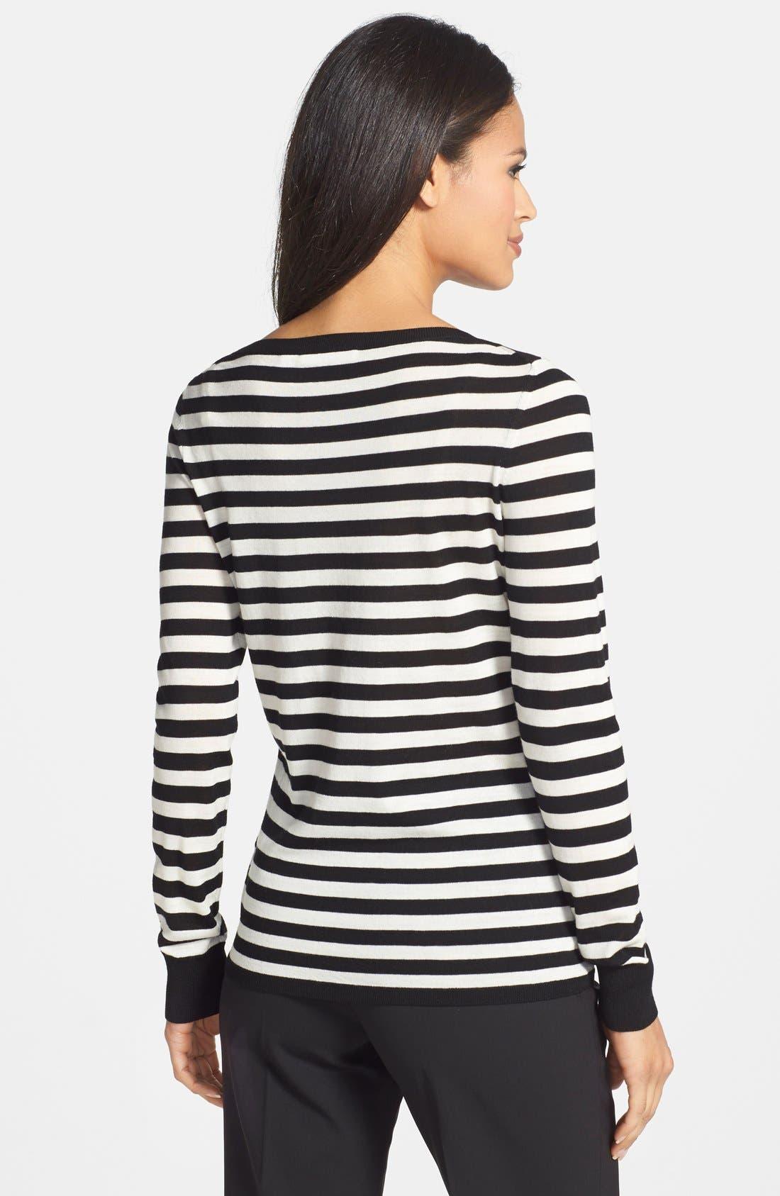 BOSS, Stripe Wool Sweater, Alternate thumbnail 2, color, 006