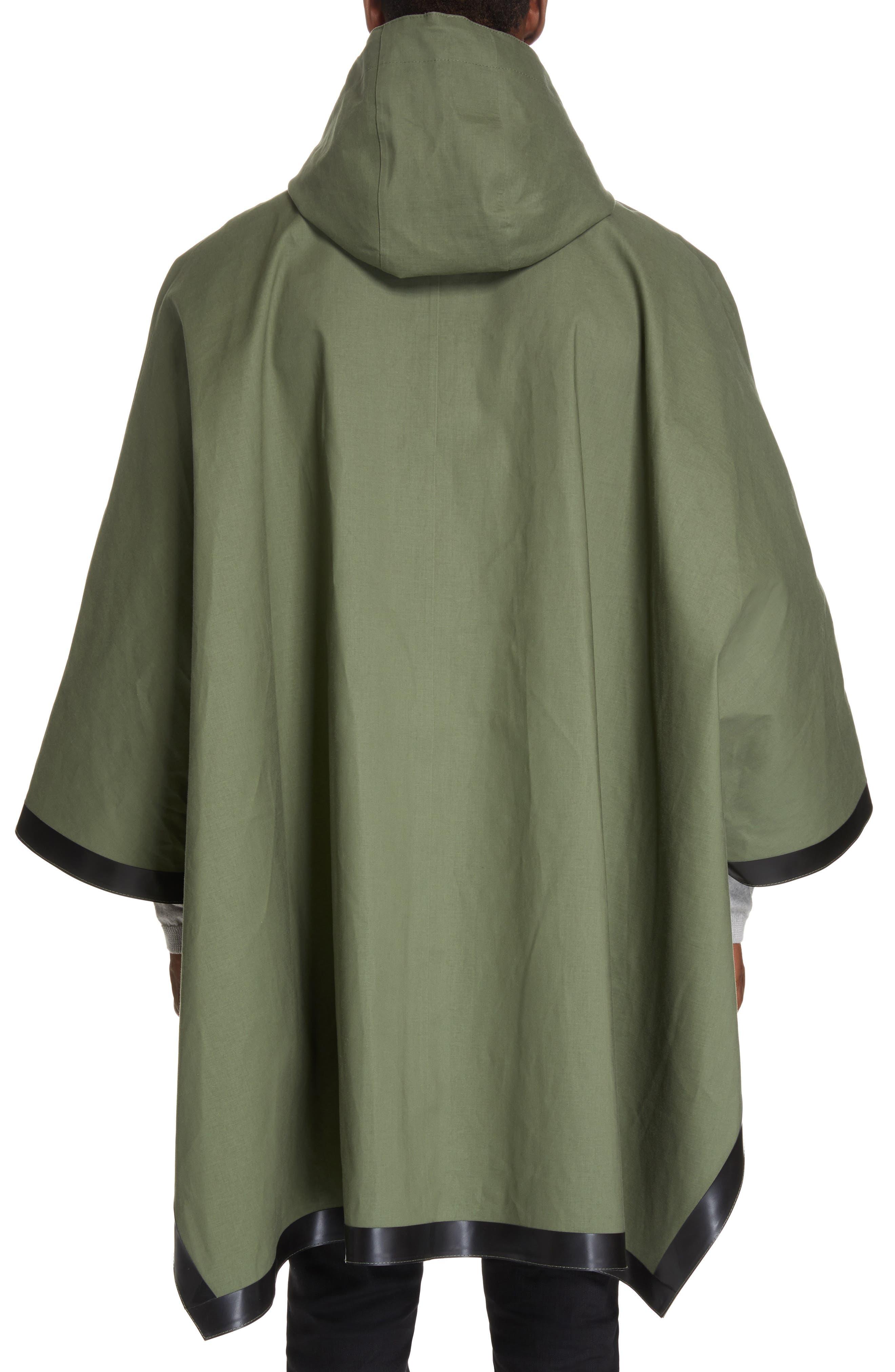 MACKINTOSH, Gents Bonded Cotton Hooded Poncho, Alternate thumbnail 3, color, FOUR LEAF CLOVER/ BLUE DEPTH