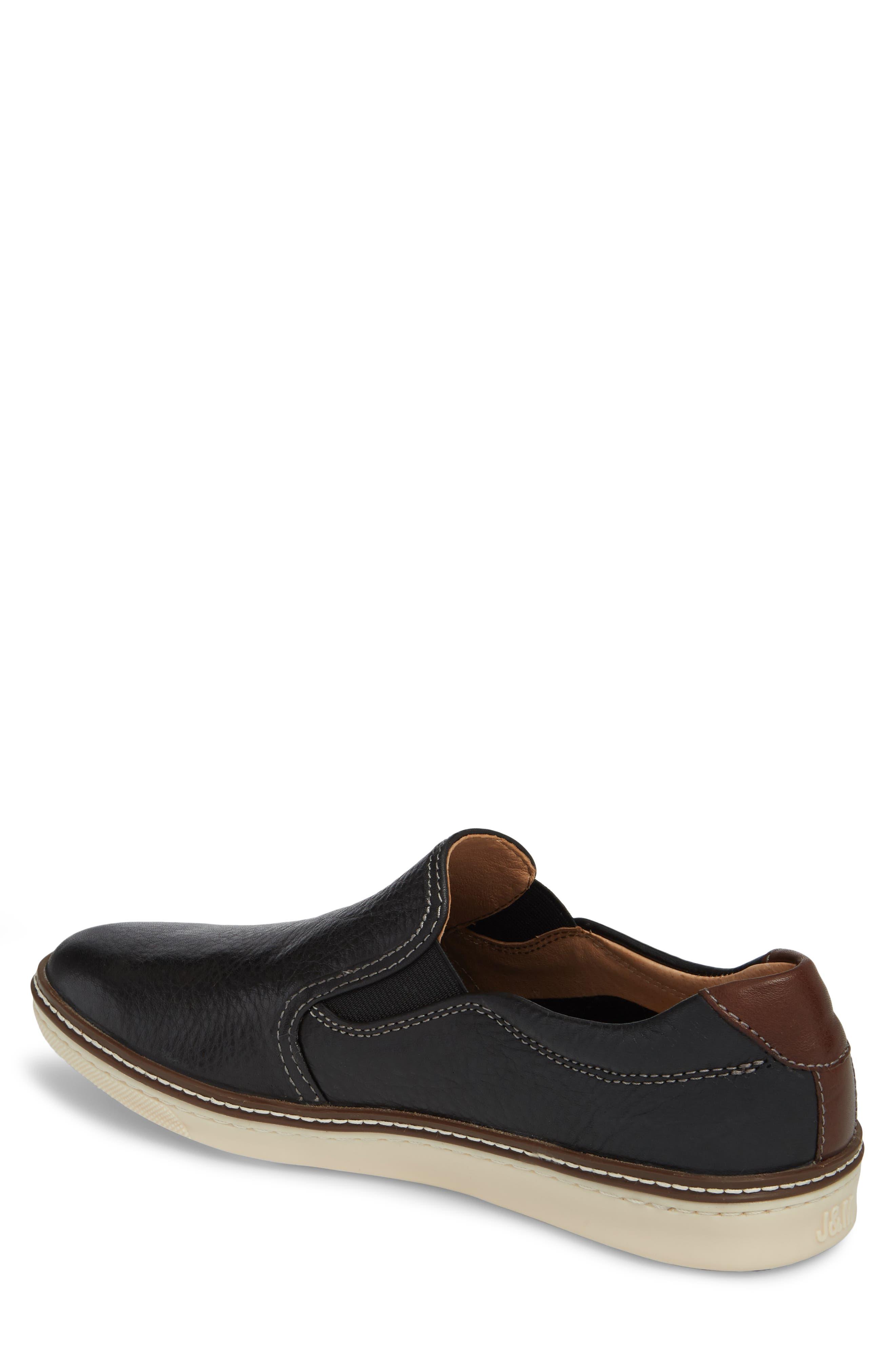 JOHNSTON & MURPHY, McGuffey Slip-On Sneaker, Alternate thumbnail 2, color, BLACK LEATHER