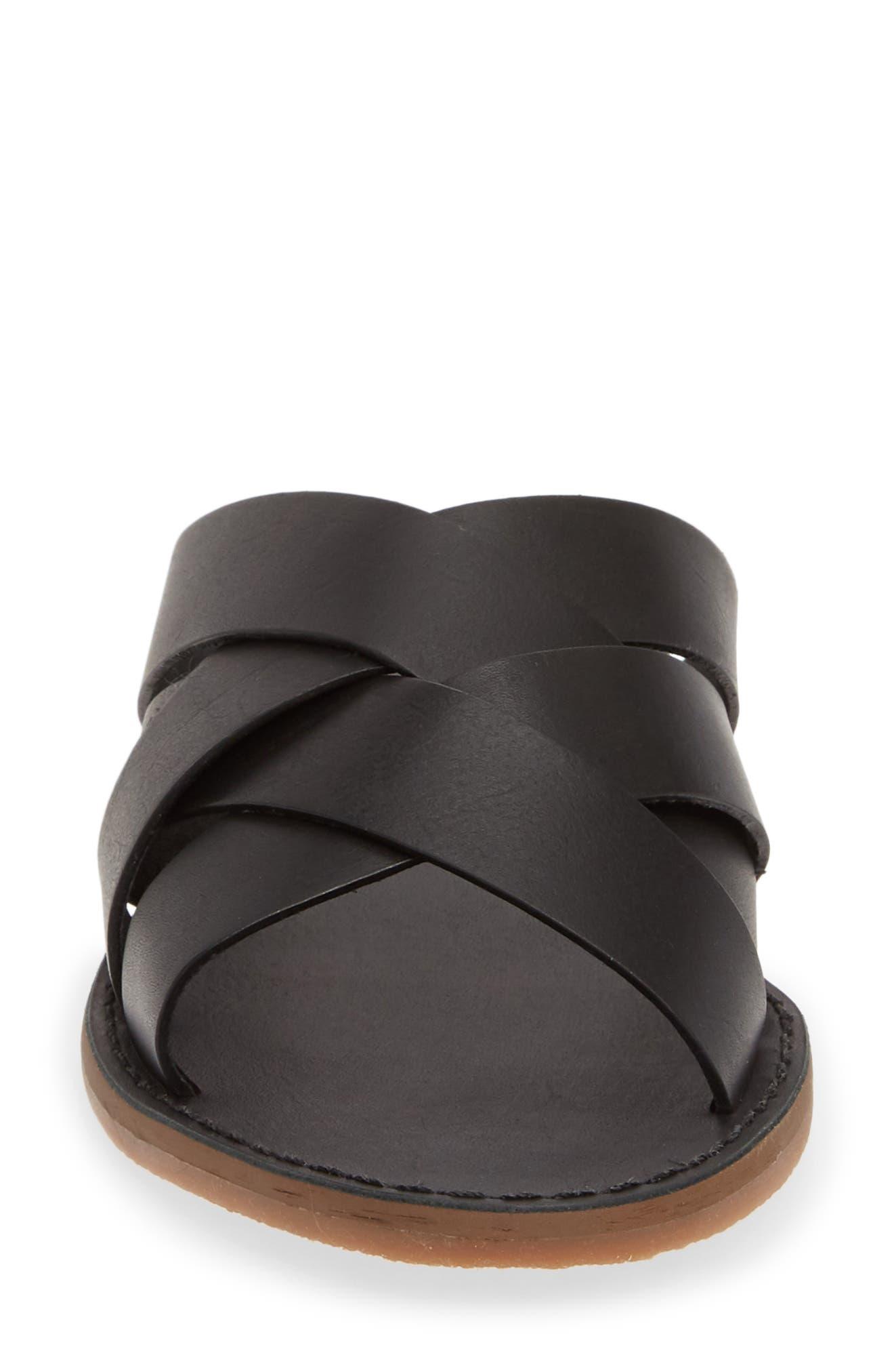 MADEWELL, The Boardwalk Woven Slide Sandal, Alternate thumbnail 4, color, TRUE BLACK