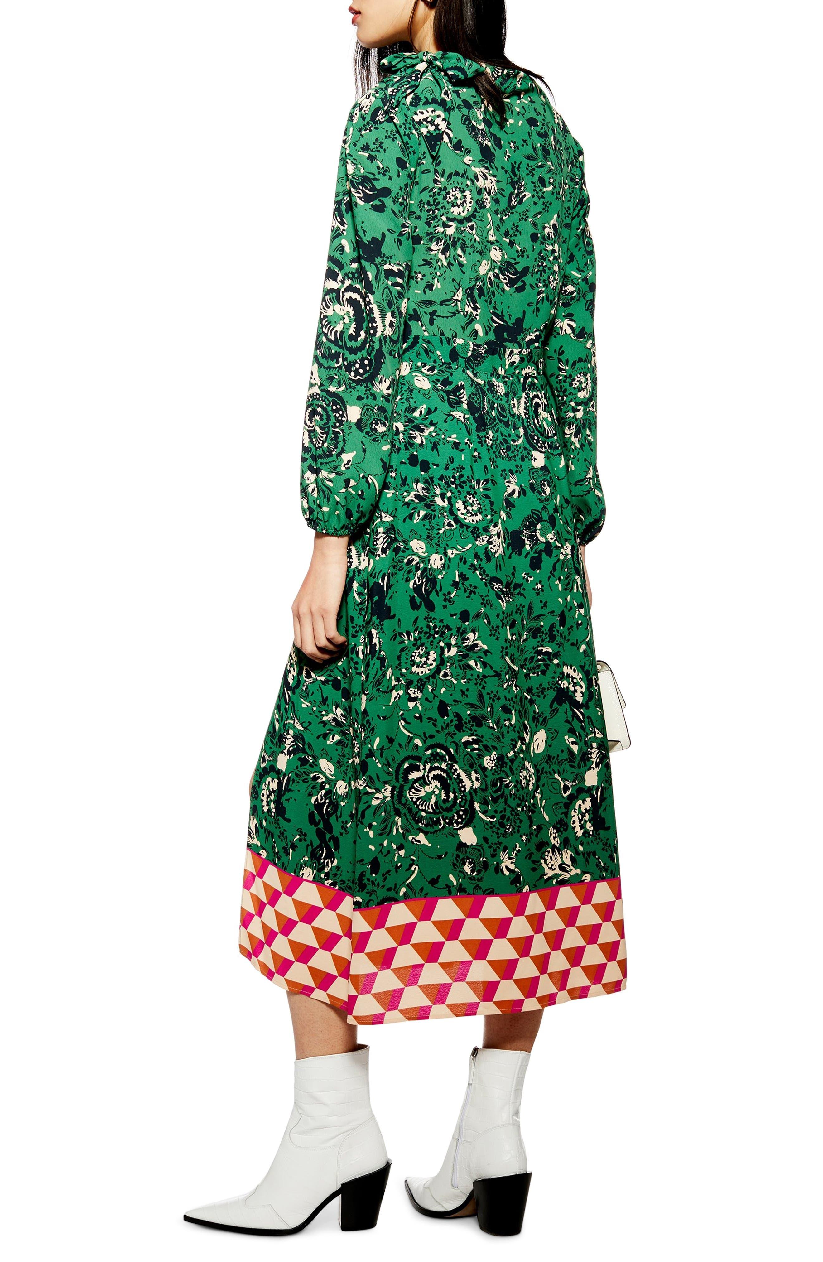 TOPSHOP, Geo Border Tie Neck Midi Dress, Alternate thumbnail 2, color, GREEN MULTI