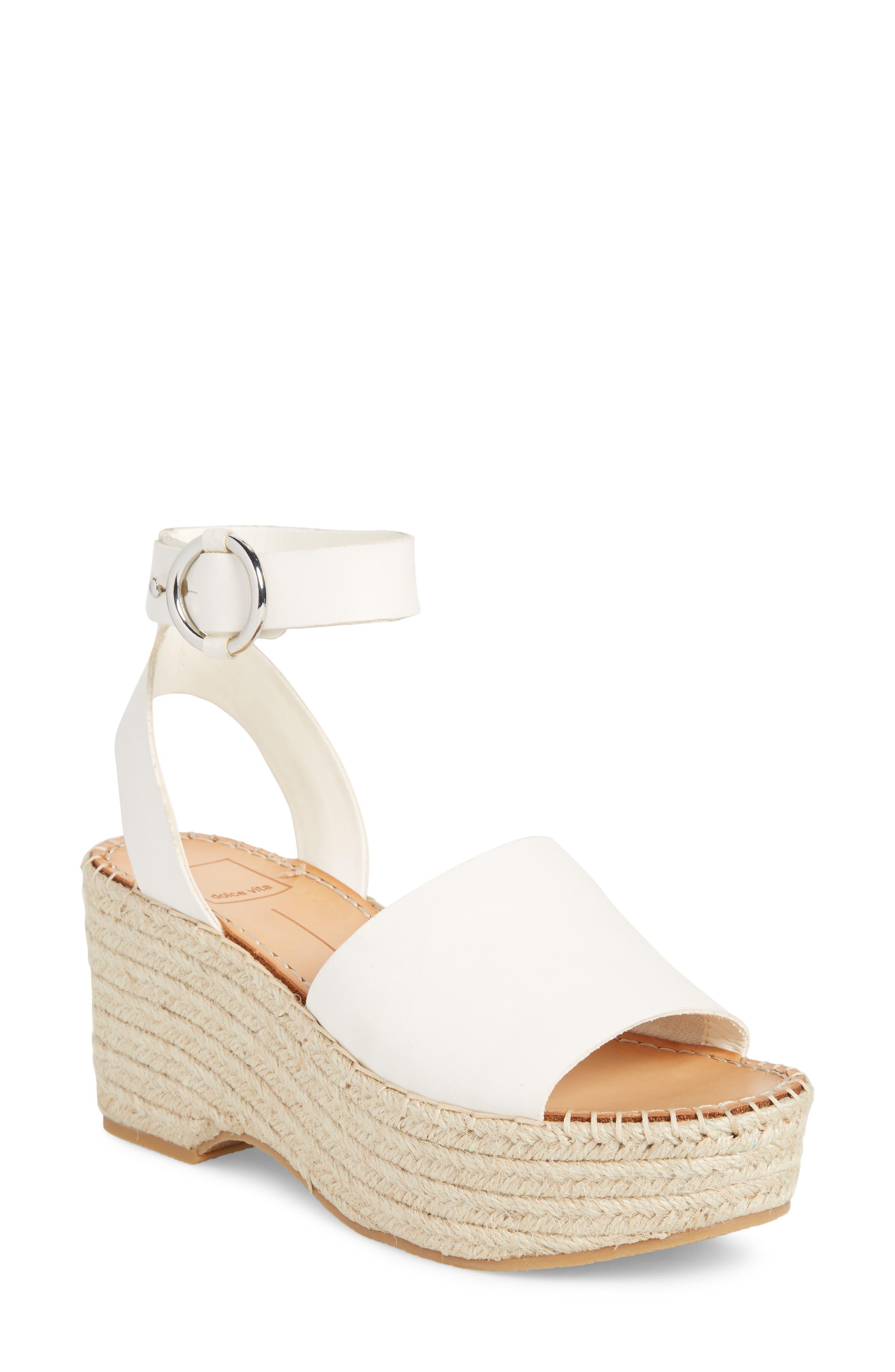 DOLCE VITA Lesly Espadrille Platform Sandal, Main, color, OFF WHITE