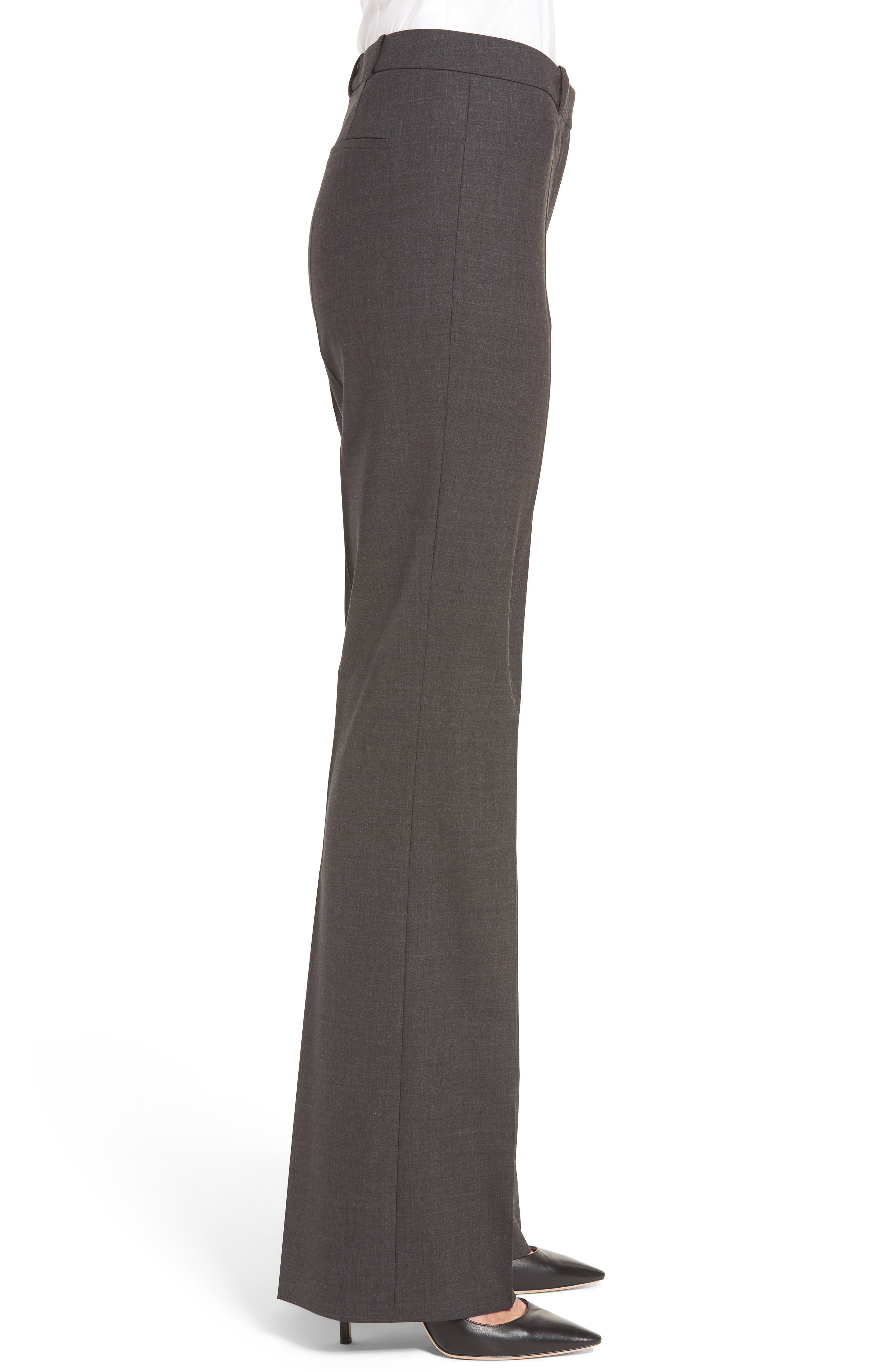 BOSS, Tulea3 Tropical Stretch Wool Trousers, Alternate thumbnail 4, color, CHARCOAL