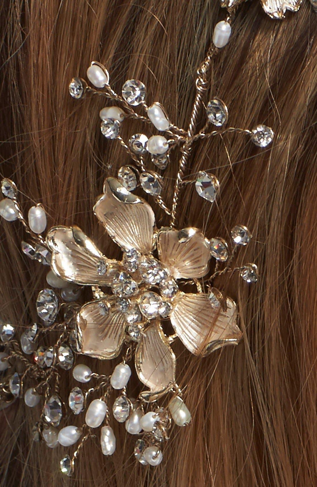 BRIDES & HAIRPINS, Atiena Embellished Floral Motif Halo & Sash, Alternate thumbnail 4, color, 14 K GOLD