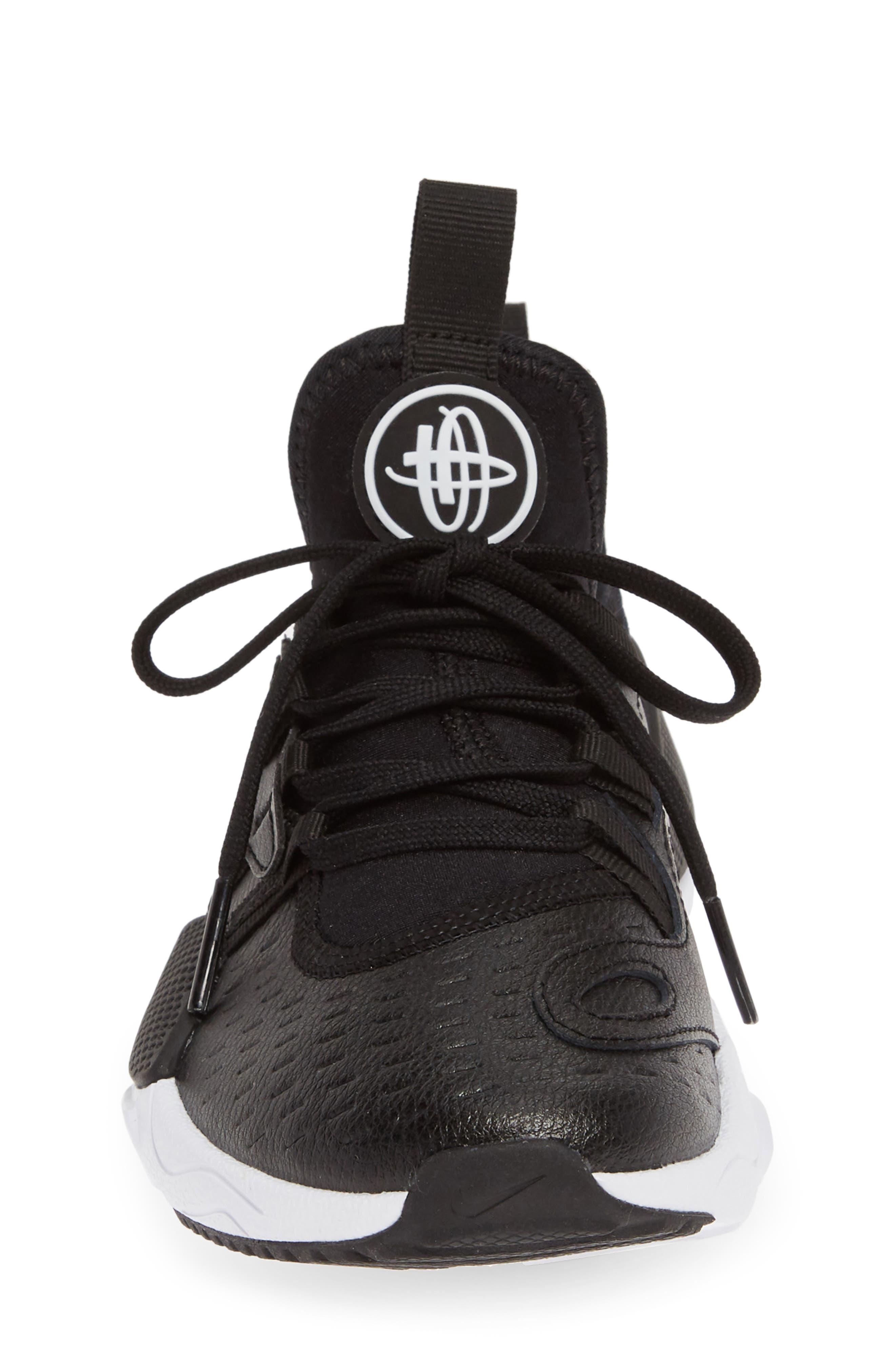NIKE, Huarache E.D.G.E. Sneaker, Alternate thumbnail 4, color, BLACK/ WHITE