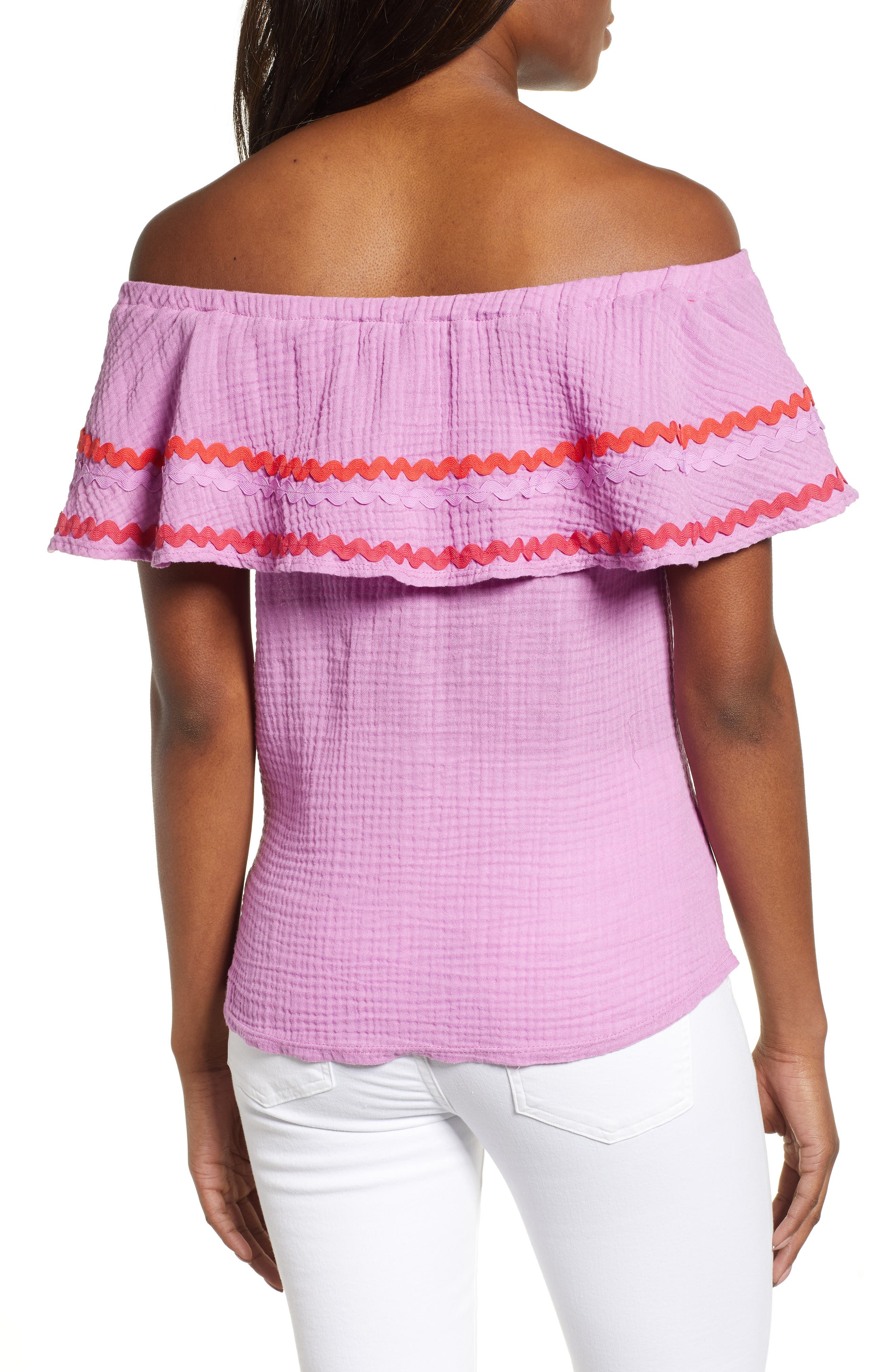 GIBSON, x Hi Sugarplum! Santa Fe Rickrack Off the Shoulder Top, Alternate thumbnail 2, color, PEONY
