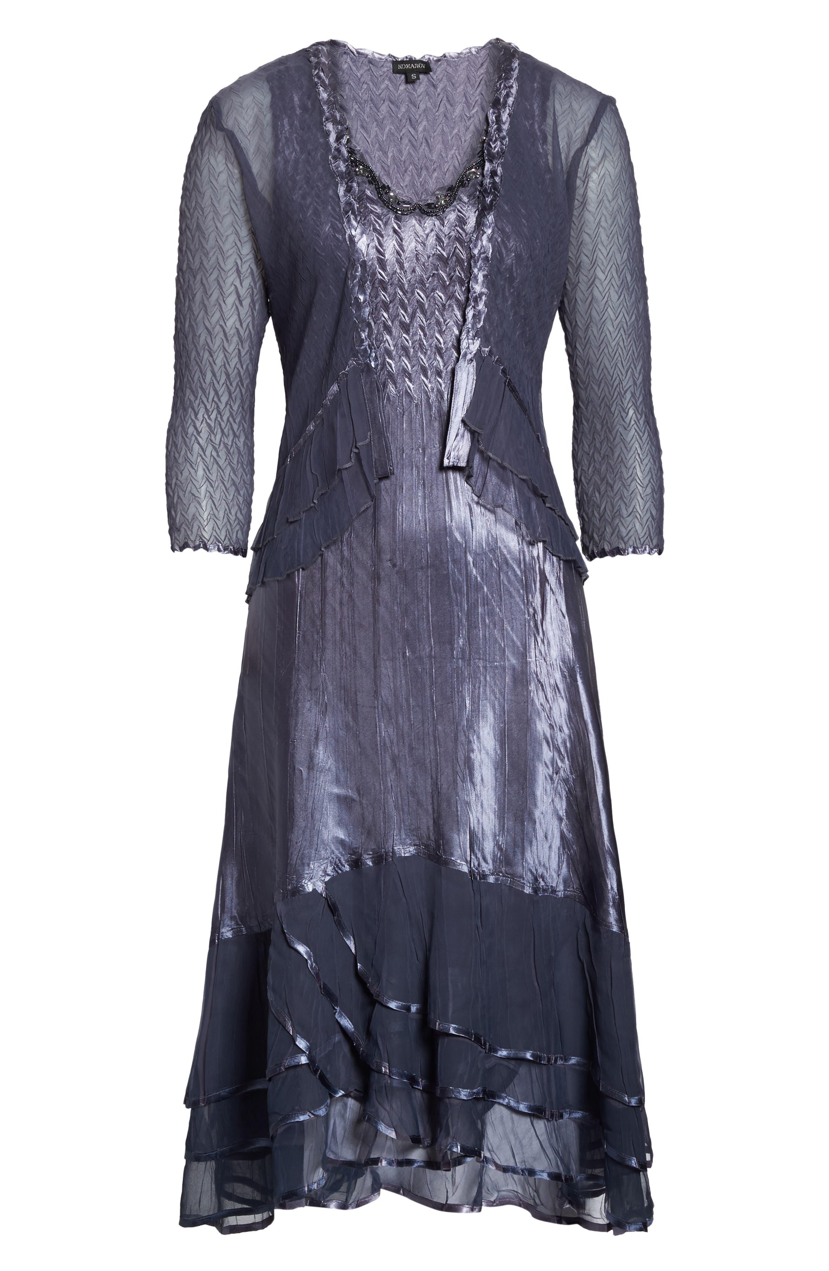 KOMAROV, Embellished Charmeuse Dress & Chiffon Jacket, Alternate thumbnail 7, color, 454