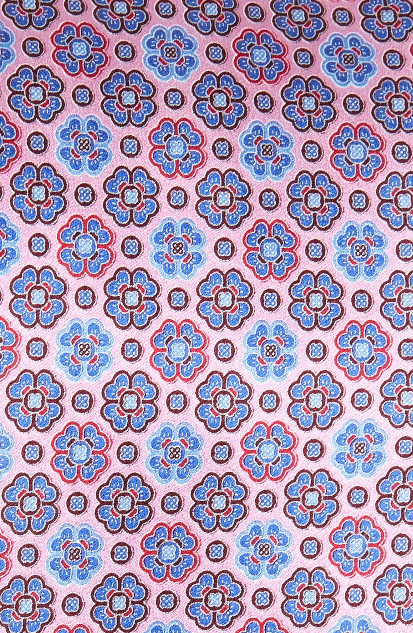 ERMENEGILDO ZEGNA, Micro Floral Silk Tie, Alternate thumbnail 2, color, PINK