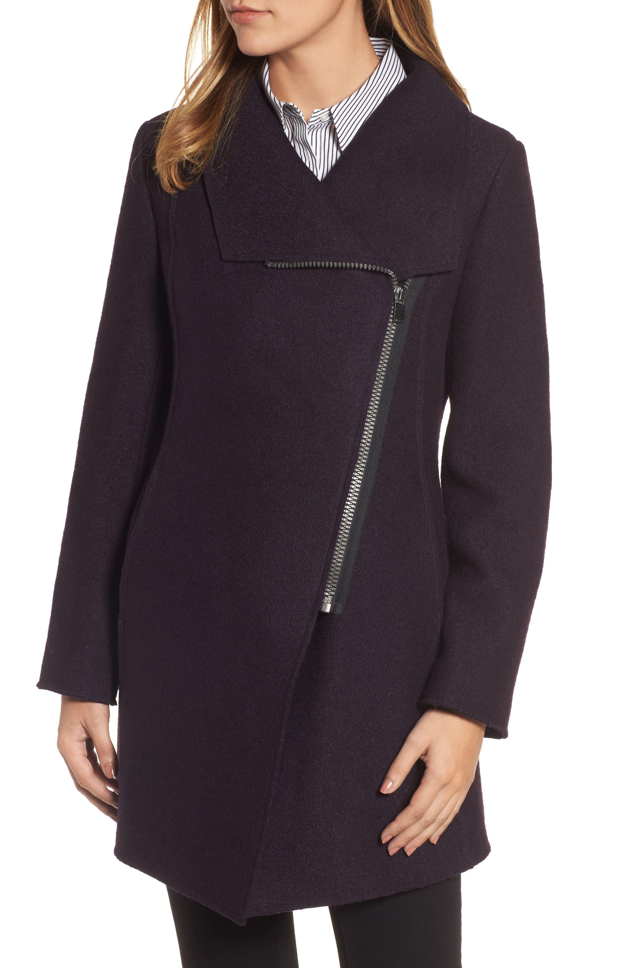HALOGEN<SUP>®</SUP>, Asymmetrical Zip Boiled Wool Blend Coat, Alternate thumbnail 5, color, 500