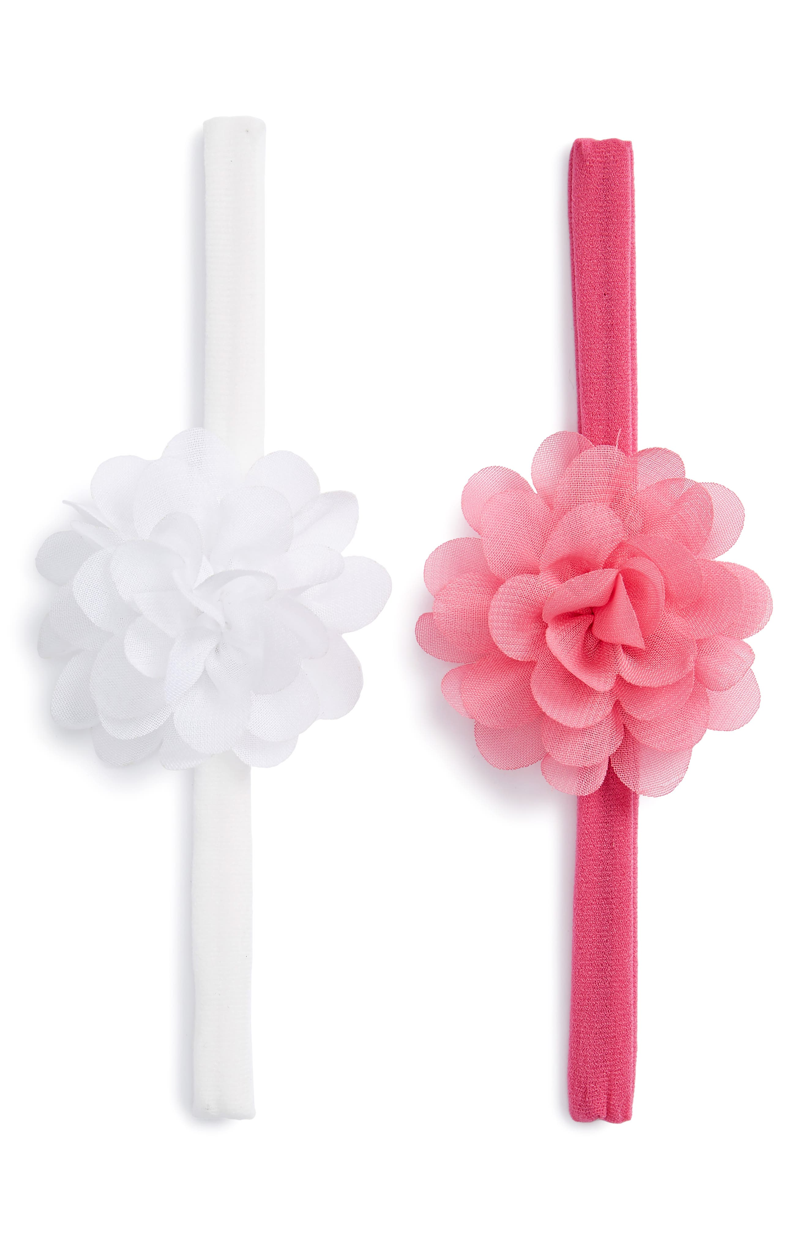 BABY BLING, Set of 2 Mini Flower Headbands, Main thumbnail 1, color, WHITE/ HOT PINK