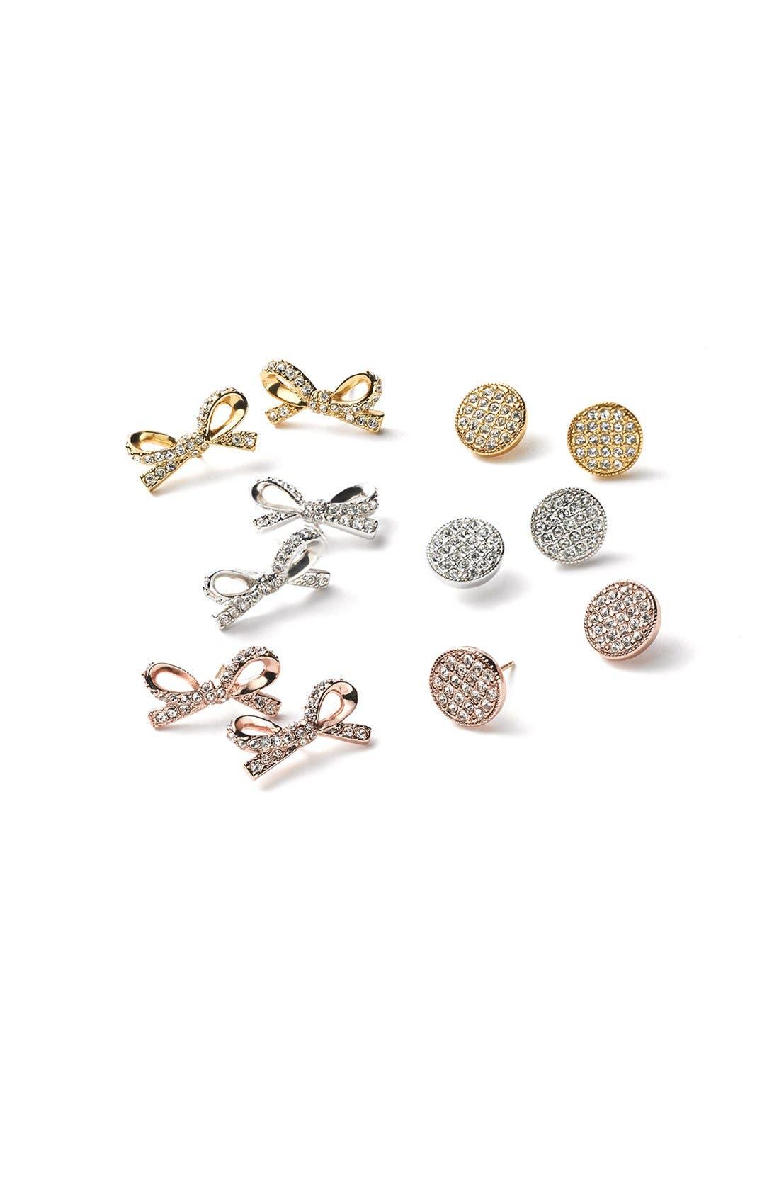 KATE SPADE NEW YORK, 'skinny mini' bow stud earrings, Alternate thumbnail 2, color, 040