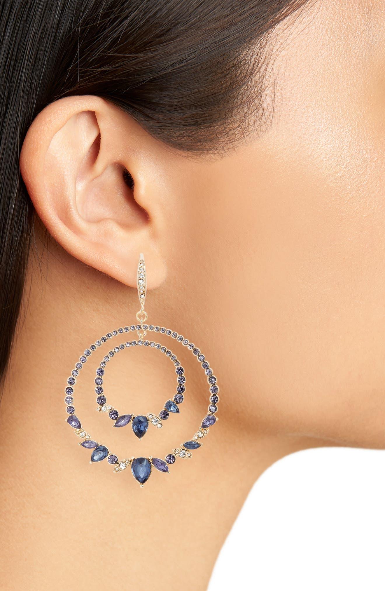 JENNY PACKHAM, Orbital Crystal Drop Earrings, Alternate thumbnail 2, color, PURPLE/ GOLD
