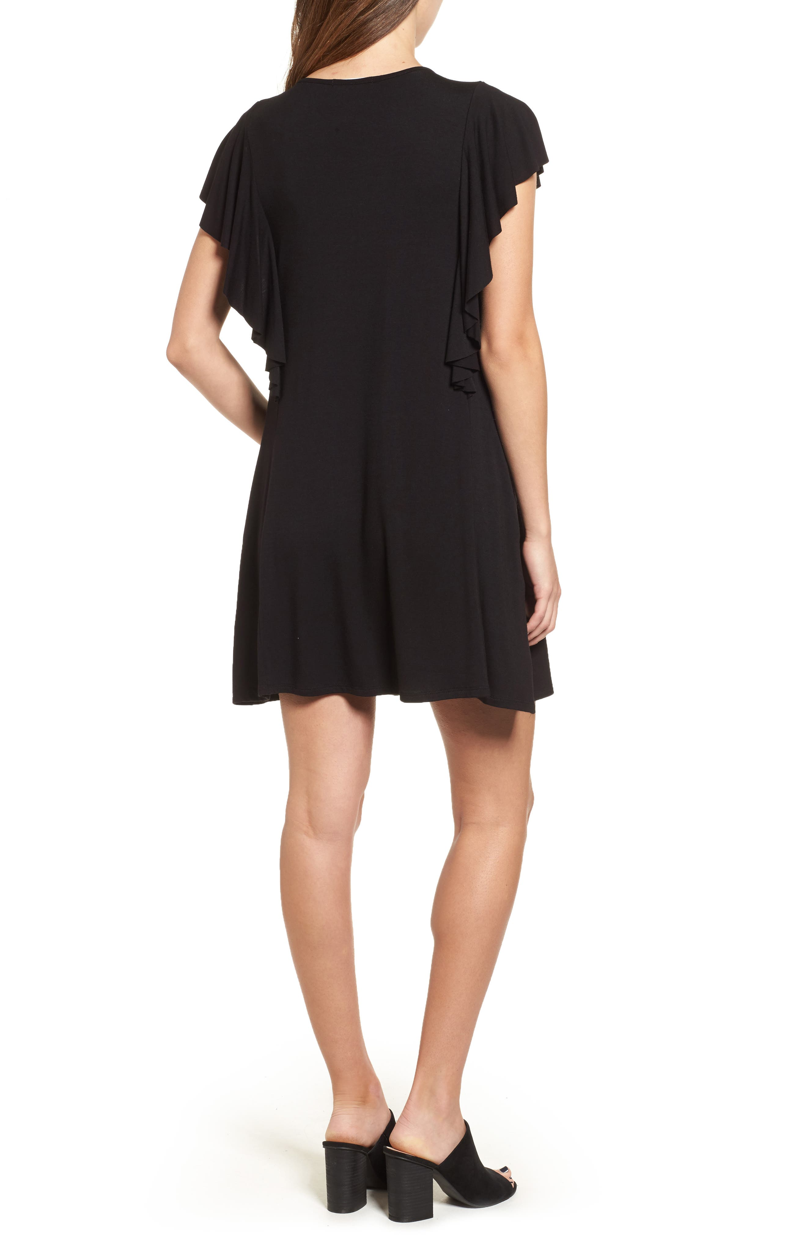 SOCIALITE, Ruffle Sleeve T-Shirt Dress, Alternate thumbnail 2, color, 001