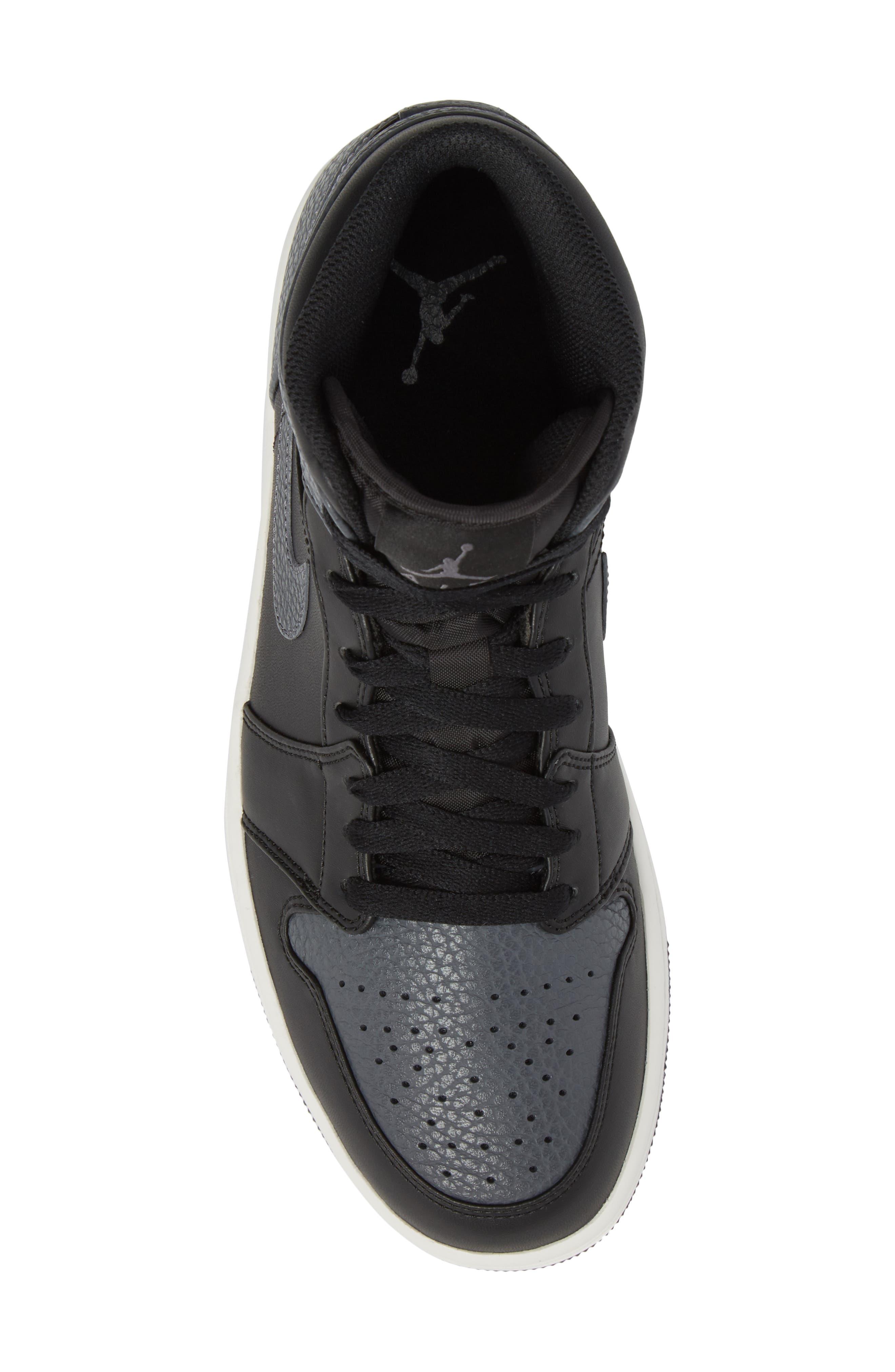 NIKE, 'Air Jordan 1 Mid' Sneaker, Alternate thumbnail 5, color, 001