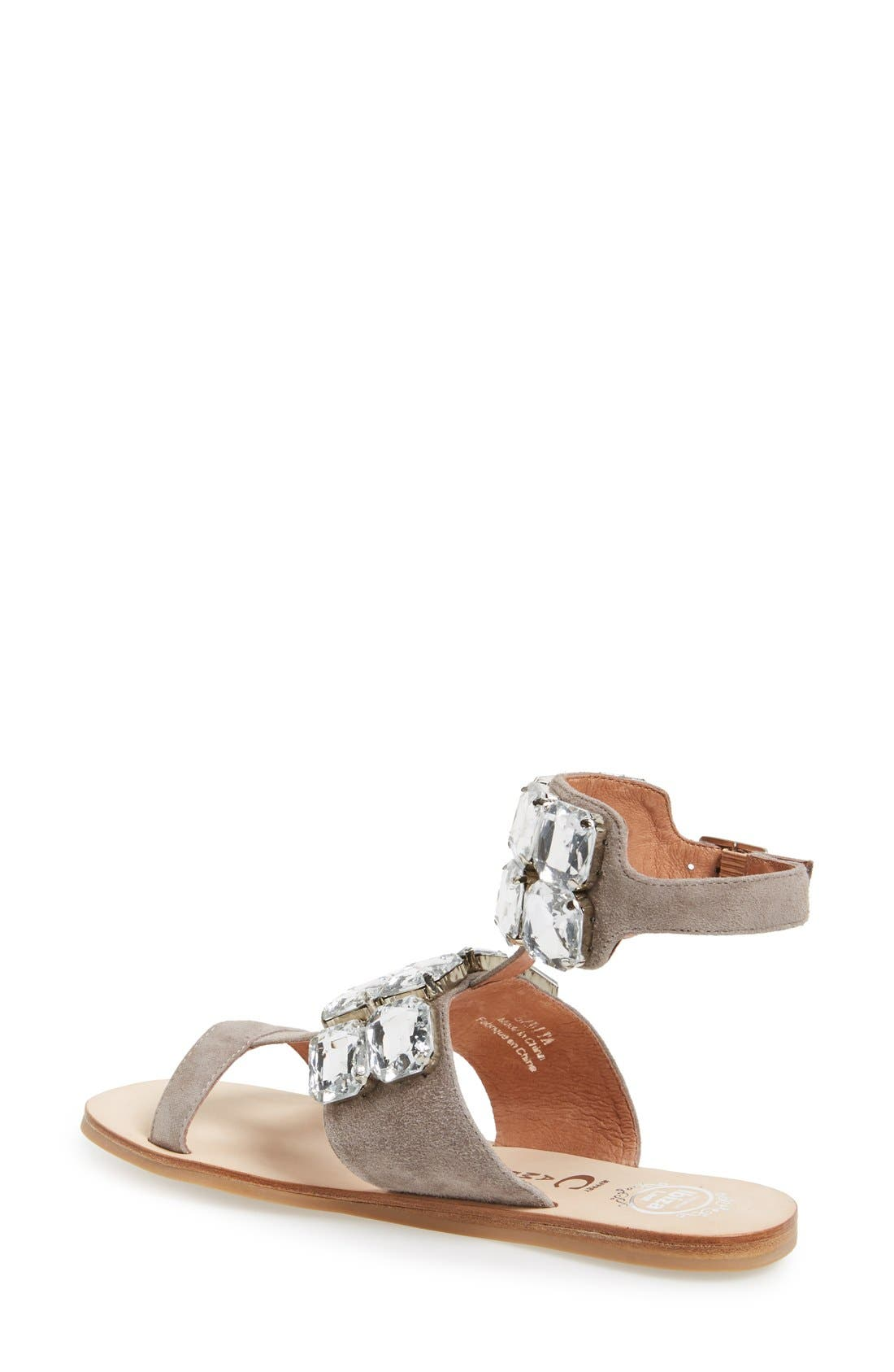 JEFFREY CAMPBELL, 'Sabita' Jeweled Suede Ankle Strap Sandal, Alternate thumbnail 4, color, 060