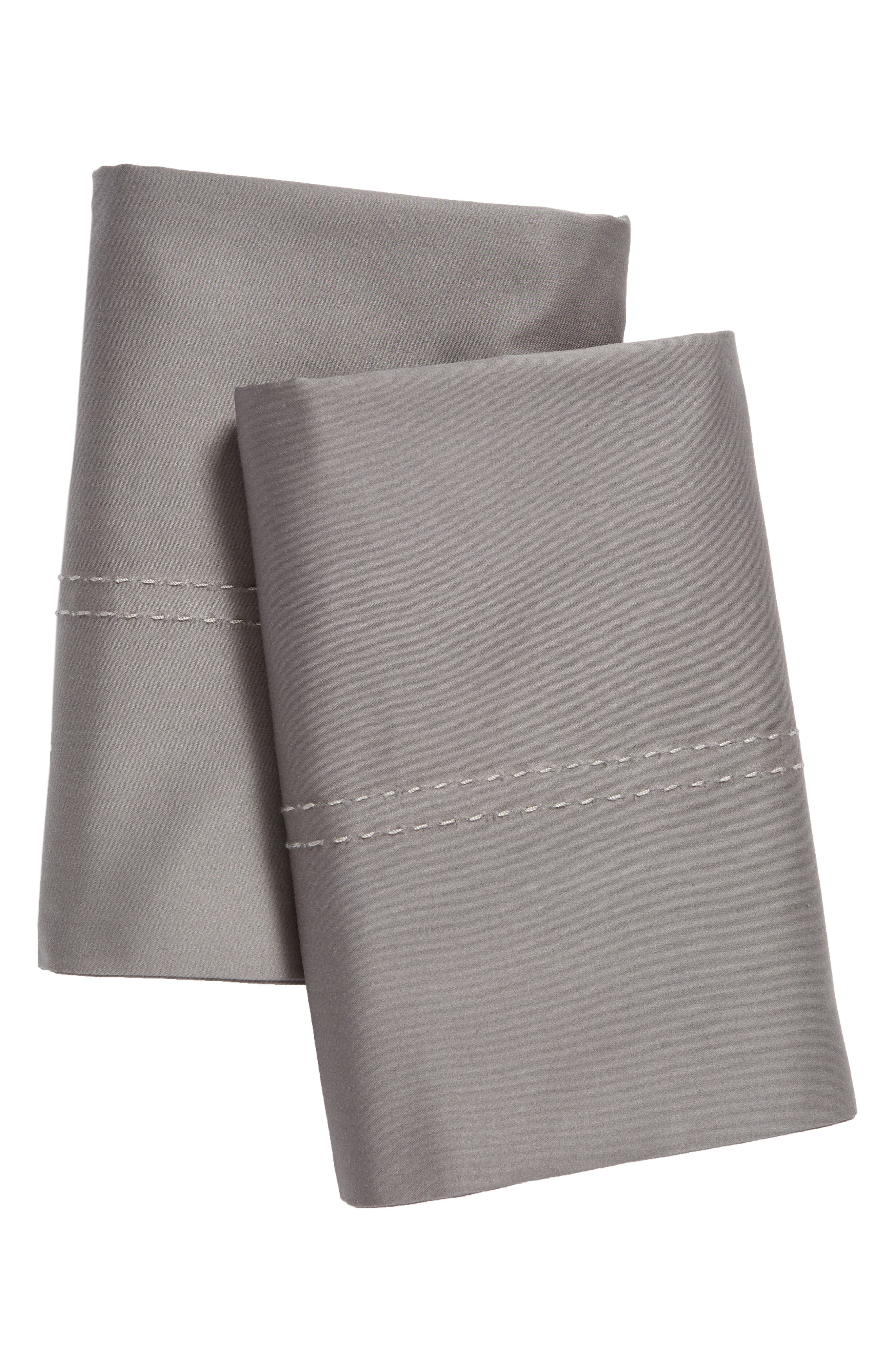 NORDSTROM AT HOME, 400 Thread Count Organic Cotton Pillowcases, Main thumbnail 1, color, GREY PEARL