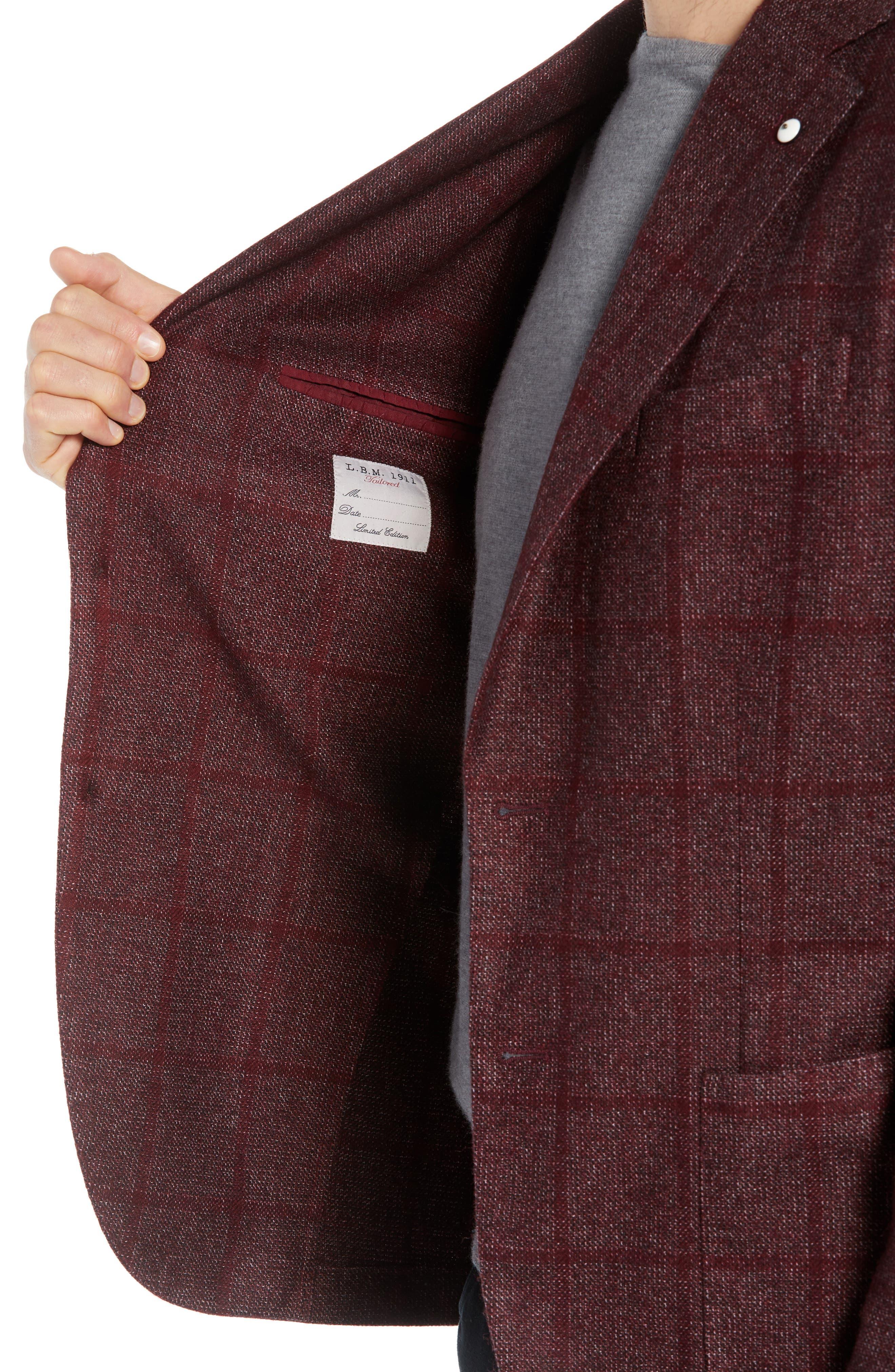 L.B.M. 1911, L.B.M 1911 Classic Fit Windowpane Wool Blend Sport Coat, Alternate thumbnail 4, color, RED