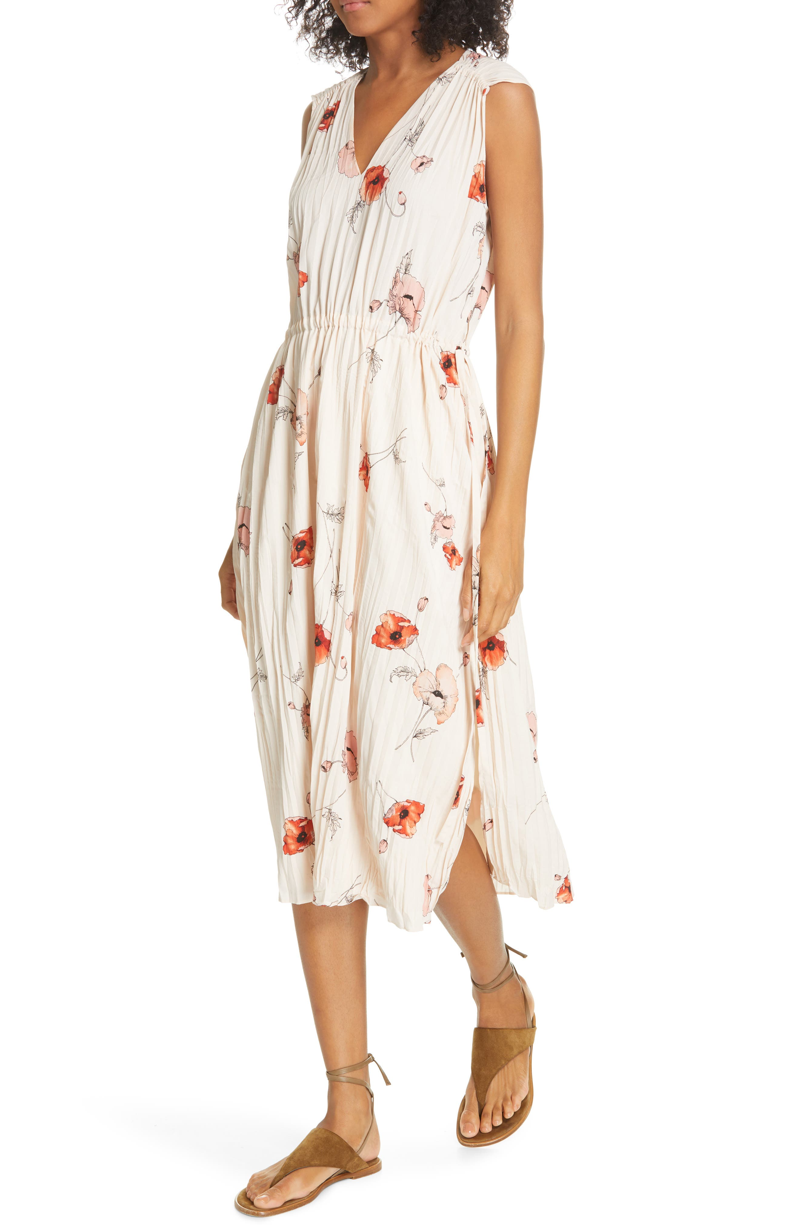 VINCE, Tossed Poppy Pleated Midi Dress, Alternate thumbnail 5, color, PALE BLUSH