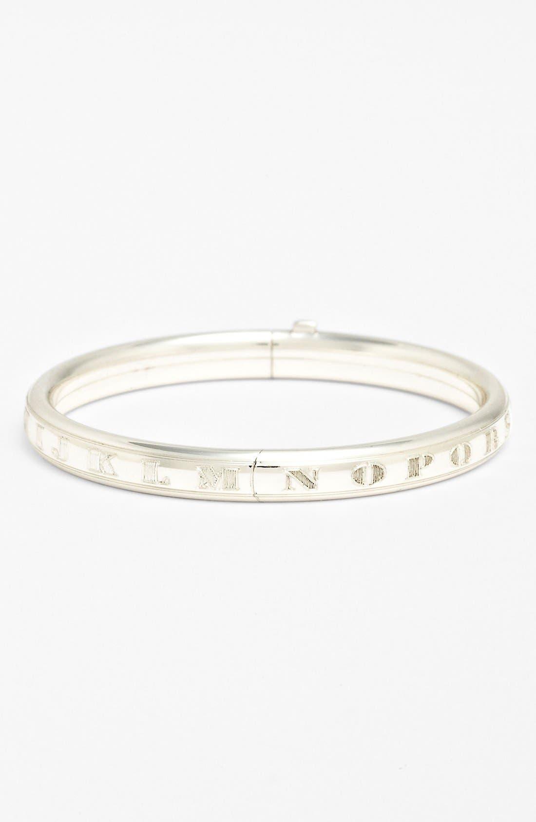 MIGNONETTE, Sterling Silver Alphabet Bracelet, Main thumbnail 1, color, STERLING SILVER