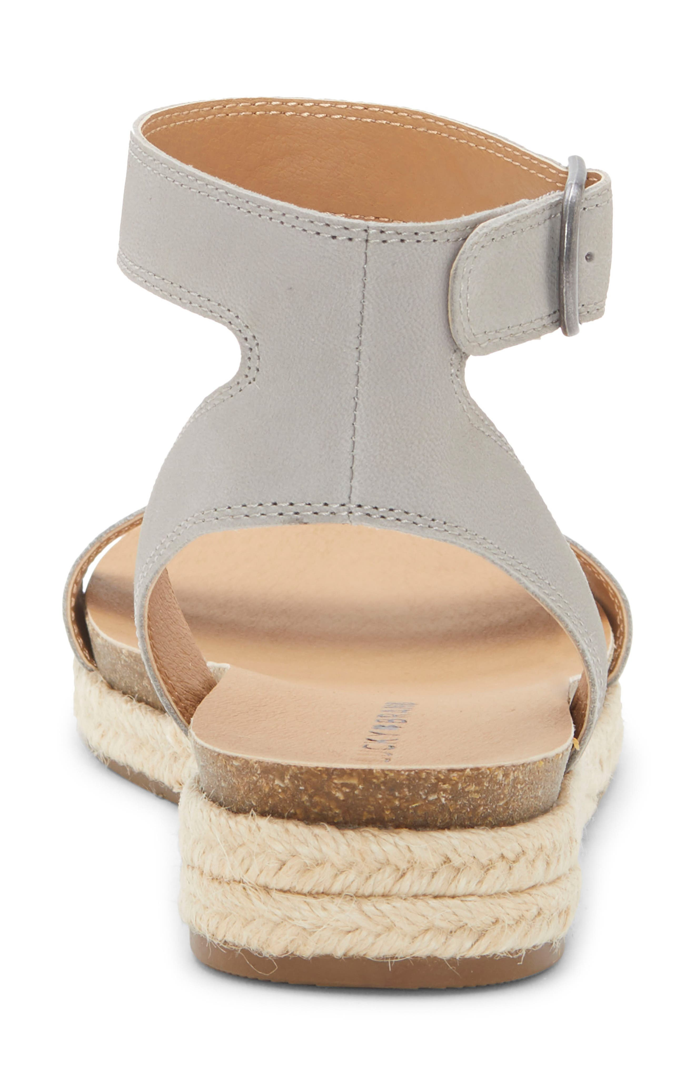 LUCKY BRAND, Garston Espadrille Sandal, Alternate thumbnail 7, color, CHINCHILLA LEATHER