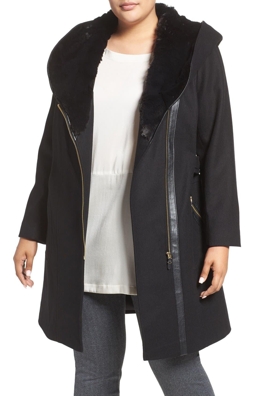 VIA SPIGA, Wool Blend Coat with Faux Fur Trim, Alternate thumbnail 4, color, 001