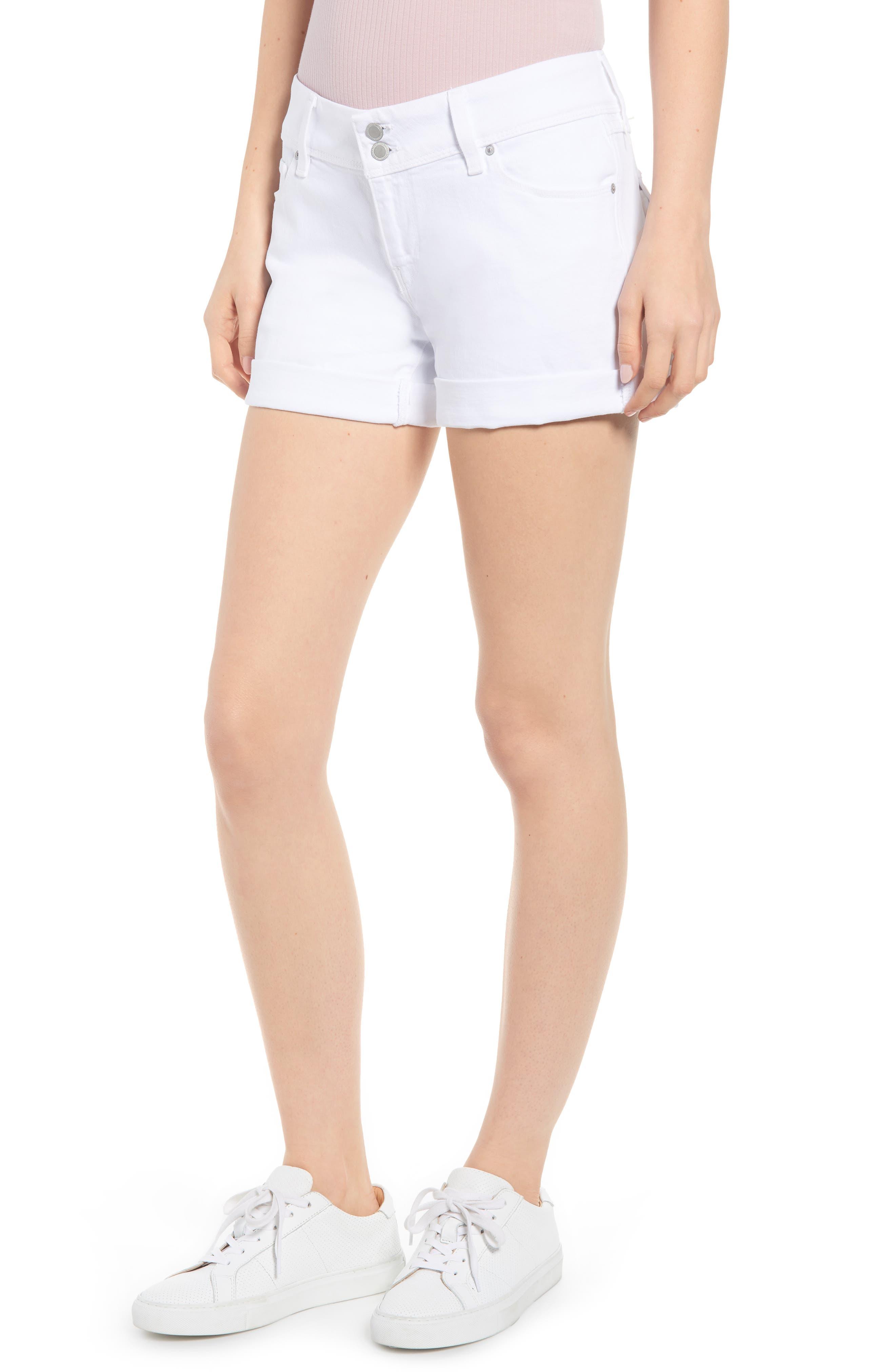HUDSON JEANS, Croxley Cuff Denim Shorts, Main thumbnail 1, color, WHITE 2