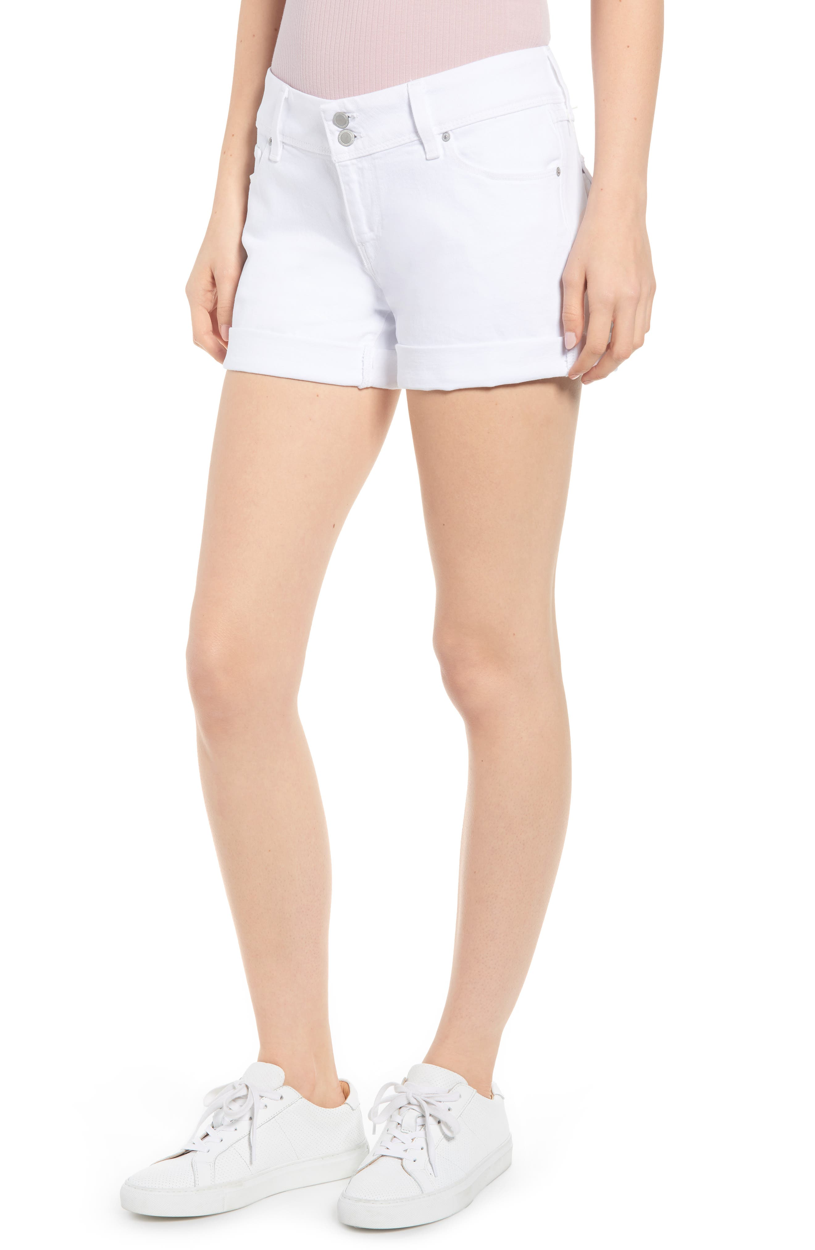 HUDSON JEANS Croxley Cuff Denim Shorts, Main, color, WHITE 2