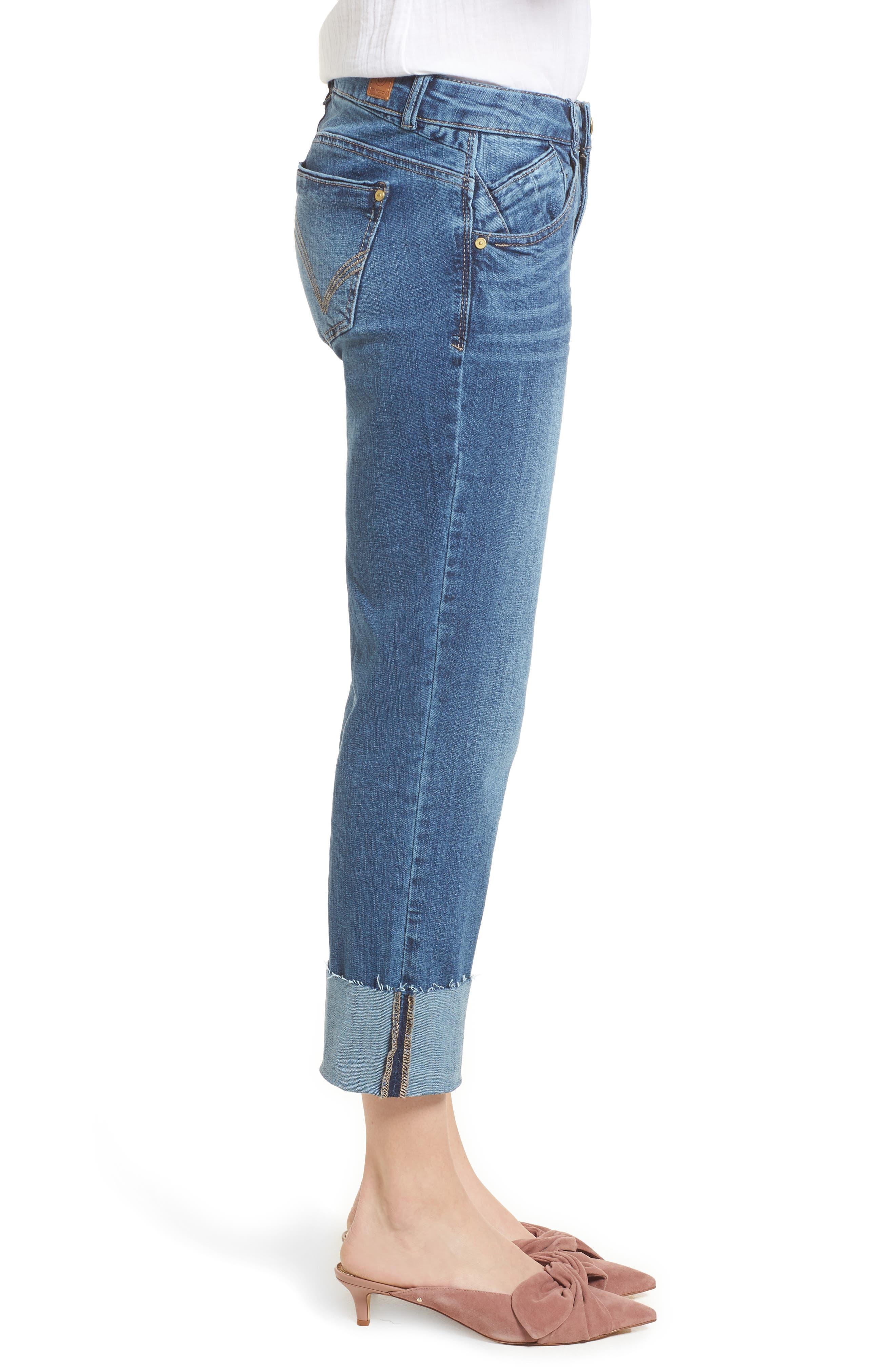 WIT & WISDOM, Flex-ellent Cuffed Boyfriend Jeans, Alternate thumbnail 4, color, BLUE